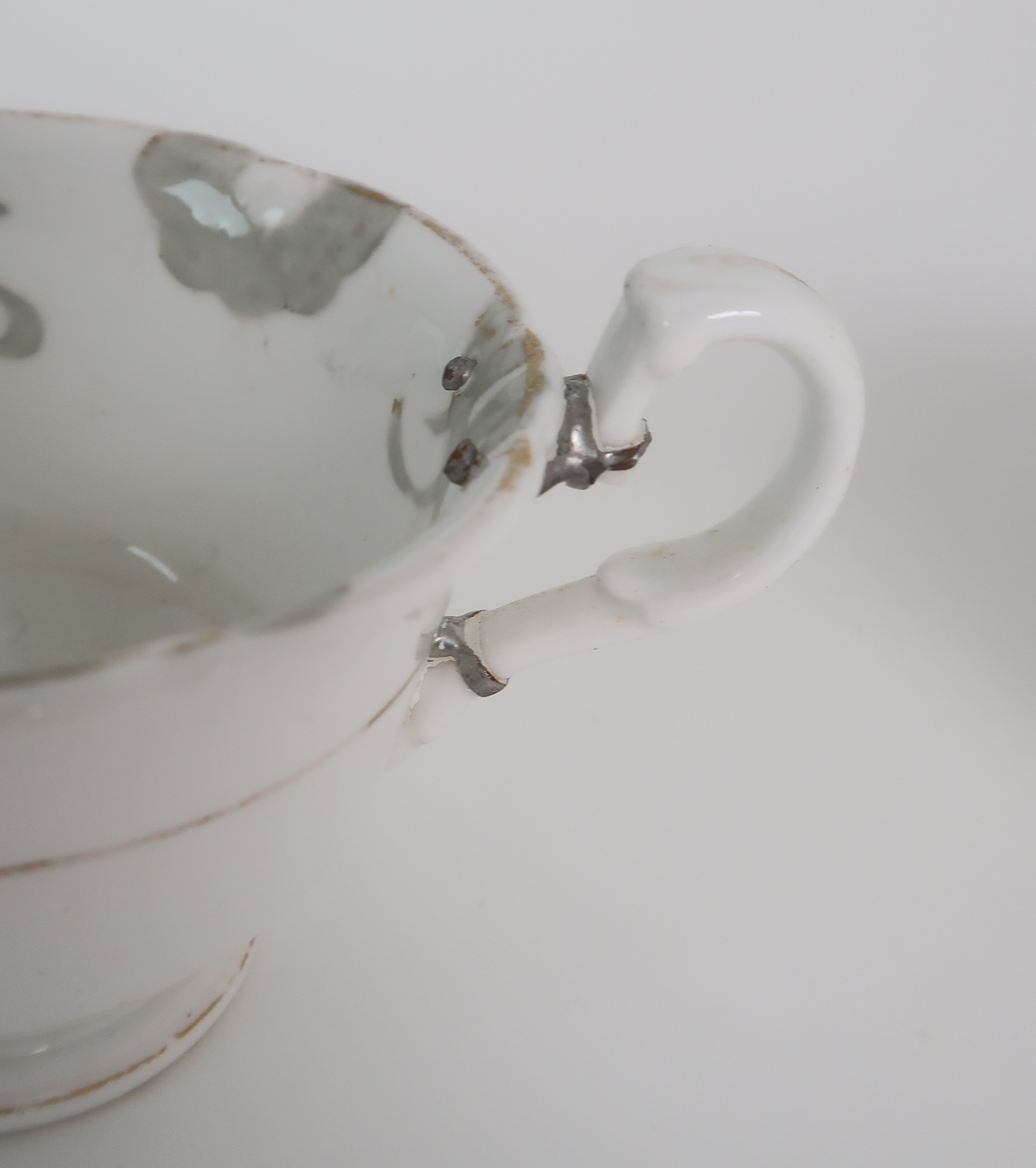 A COLLECTION OF 19TH CENTURY ENGLISH TEA AND COFFEE WARES the white ground with either grey and gilt - Image 20 of 22
