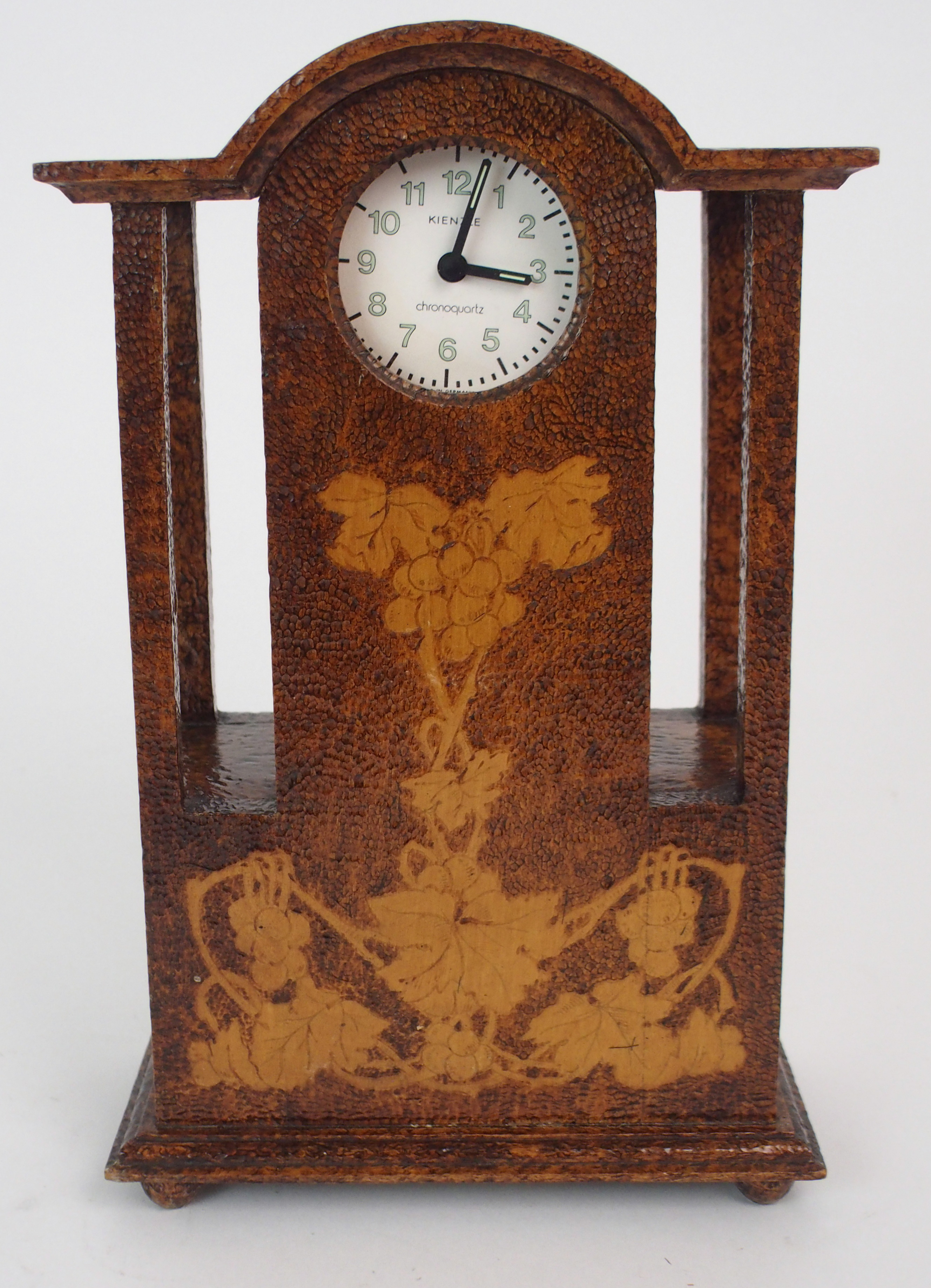 THE FOLLOWING THREE LOTS WERE DESIGNED BY BOXWORKS EMPLOYEE JOHN COOK. A MAUCHLINE WARE CLOCK CASE