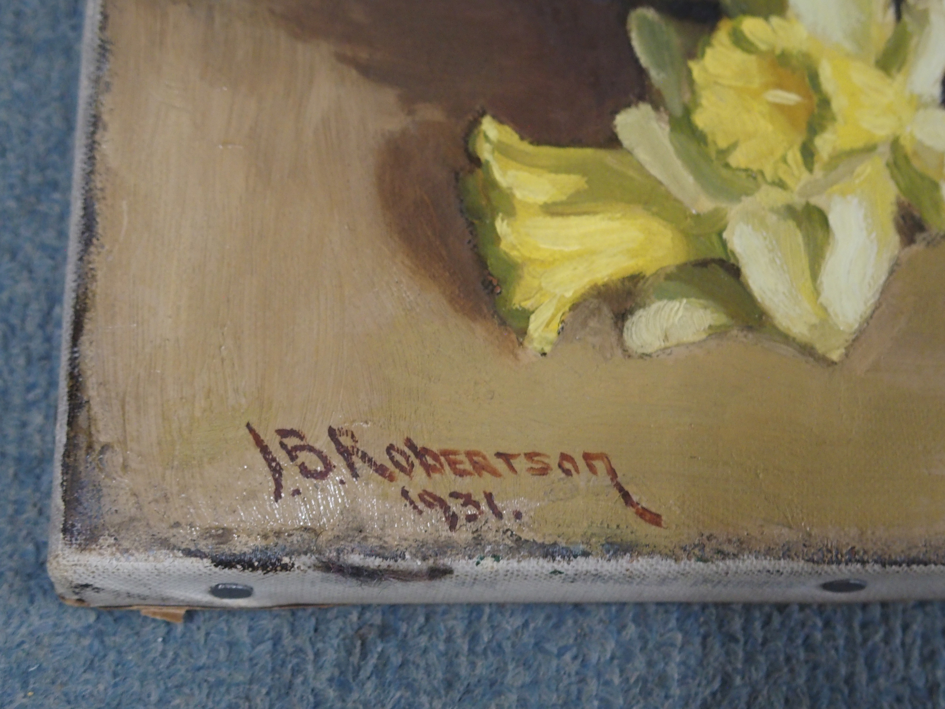 JOHN BURNS ROBERTSON (SCOTTISH FL. 1920-1944) STILL LIFE WITH IRISES AND DAFFODILS Oil on canvas, - Image 3 of 4