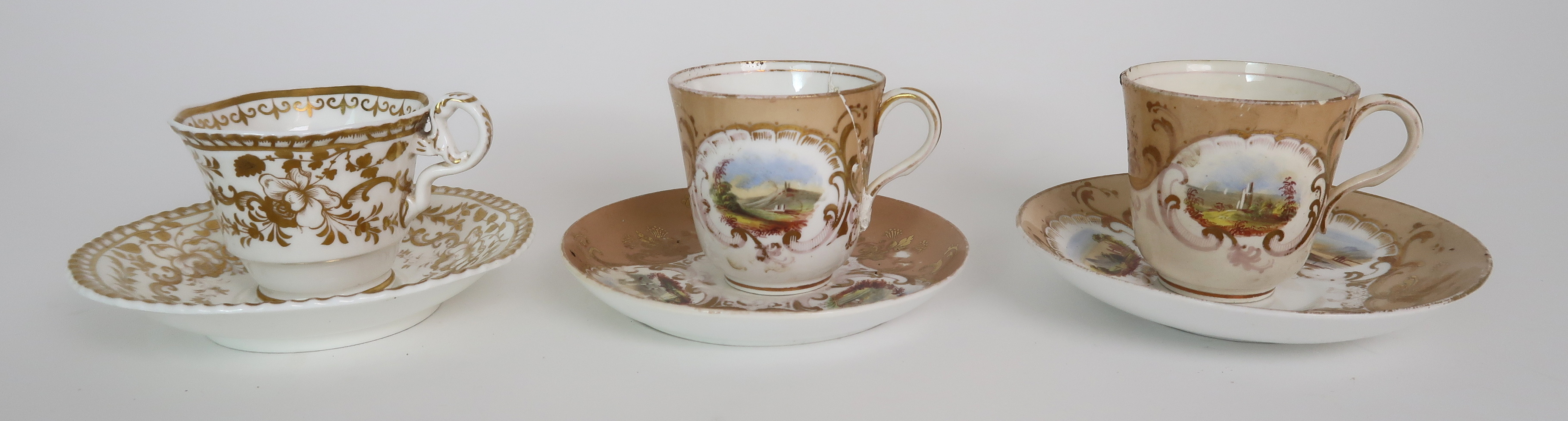 A COLLECTION OF 19TH CENTURY ENGLISH TEA AND COFFEE WARES the white ground with either grey and gilt - Image 9 of 22