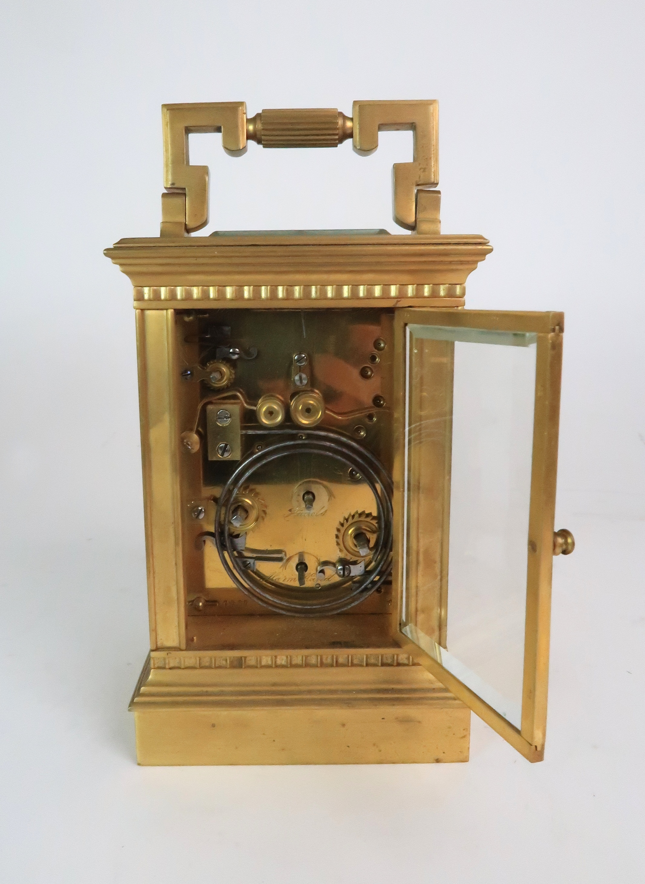 A FRENCH BRASS AND GLASS REPEATER CARRIAGE CLOCK the enamel dial with Roman numerals, with - Image 4 of 8