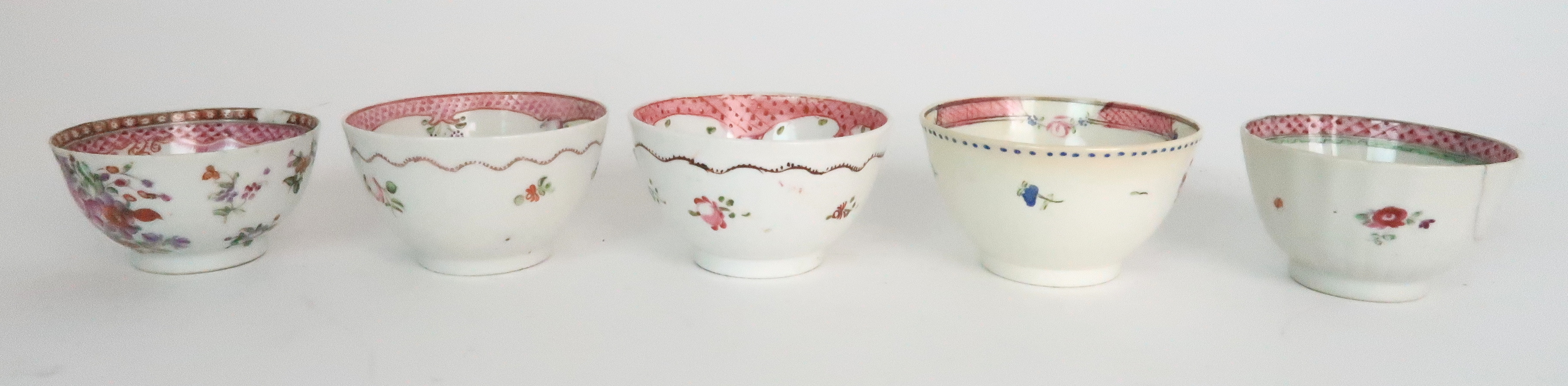 A COLLECTION OF TEA BOWLS AND SAUCERS each with pink scale and floral decoration including New Hall; - Image 9 of 12