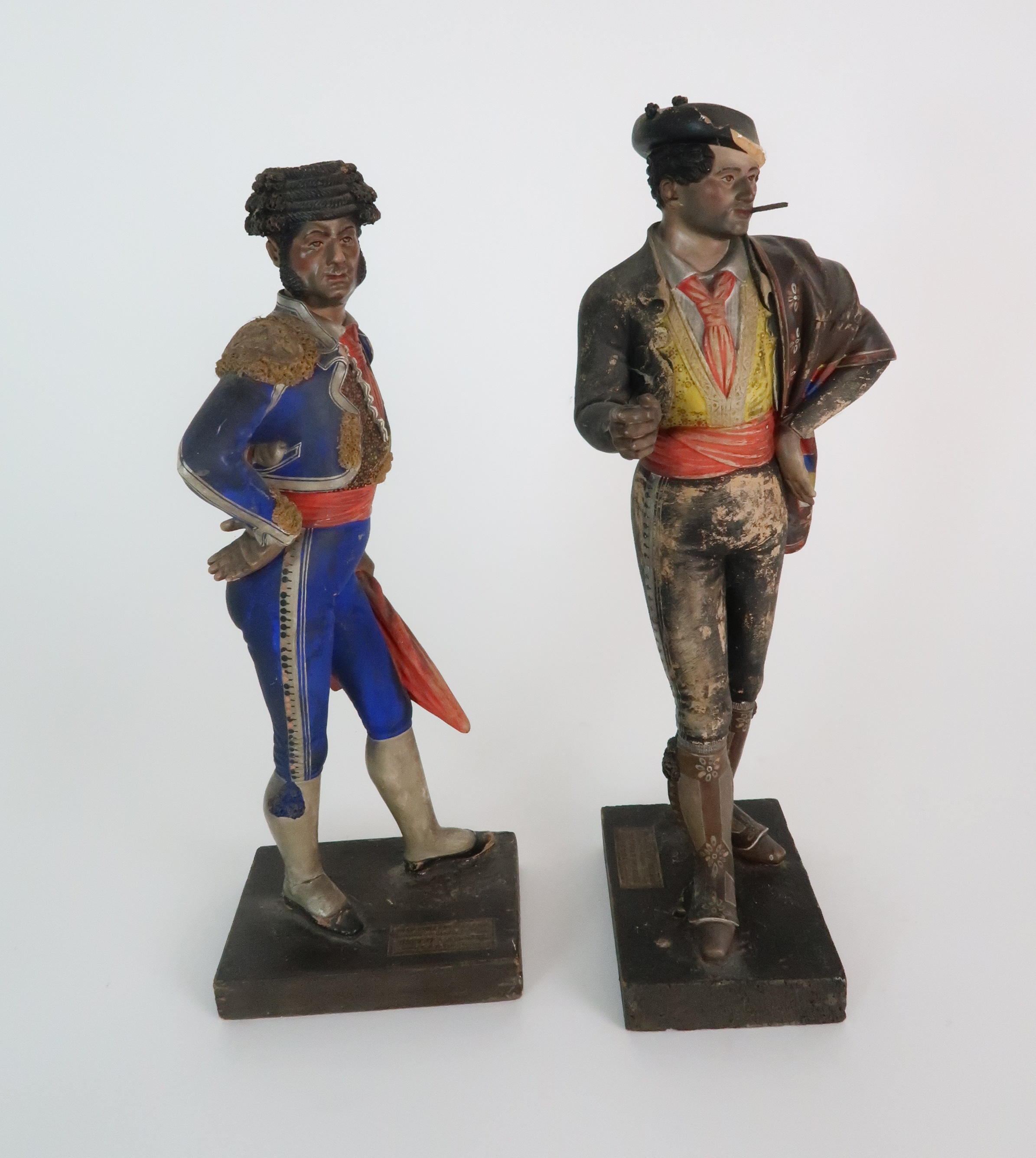 JOSE CUBERO, MALAGA - A PAIR OF MID 19TH CENTURY COLD PAINTED TERRACOTTA FIGURES one a matador, - Image 5 of 8