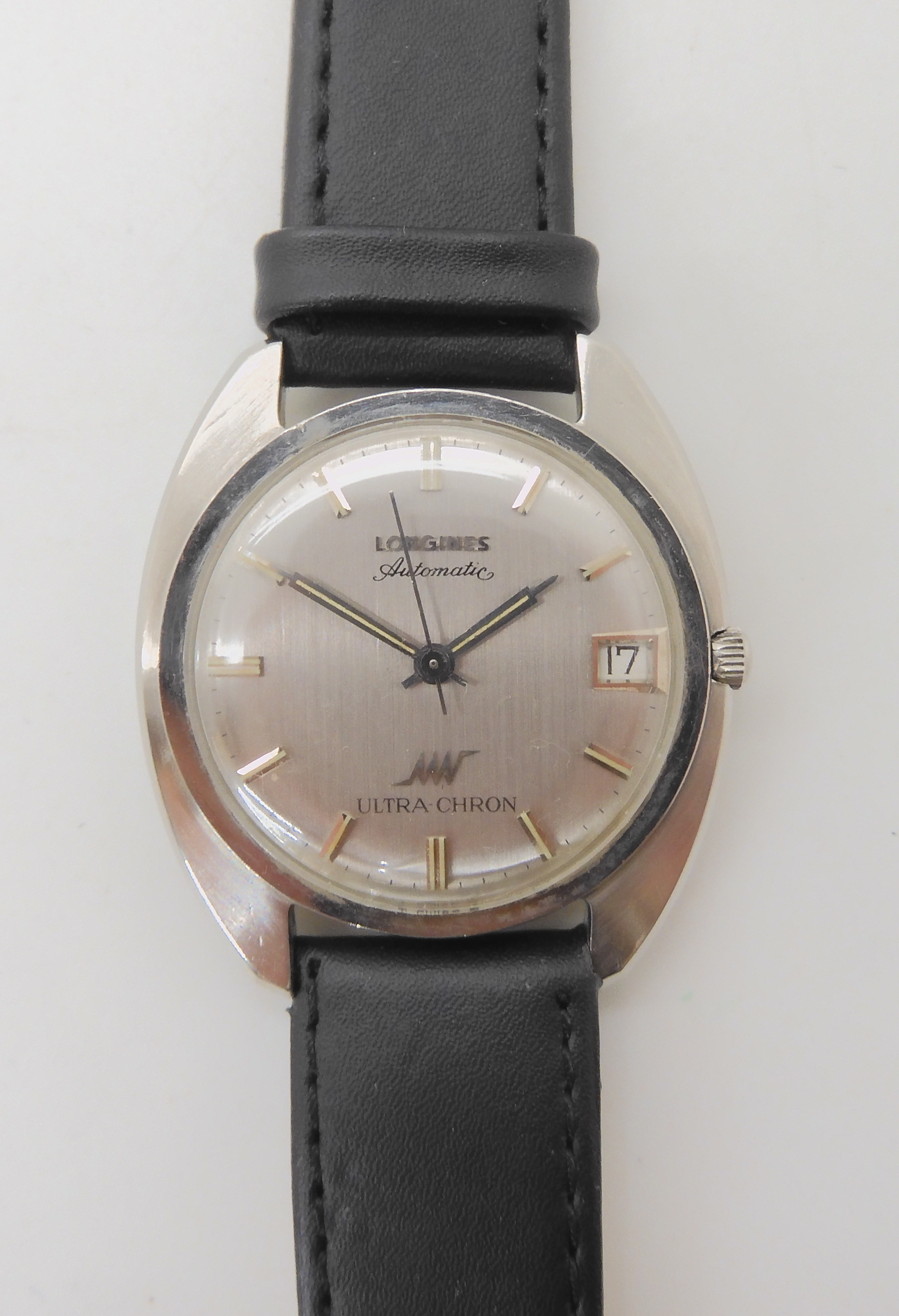 A GENTS LONGINES AUTOMATIC ULTRA CHRON with brushed silvered dial silver coloured numerals, hands - Image 2 of 4