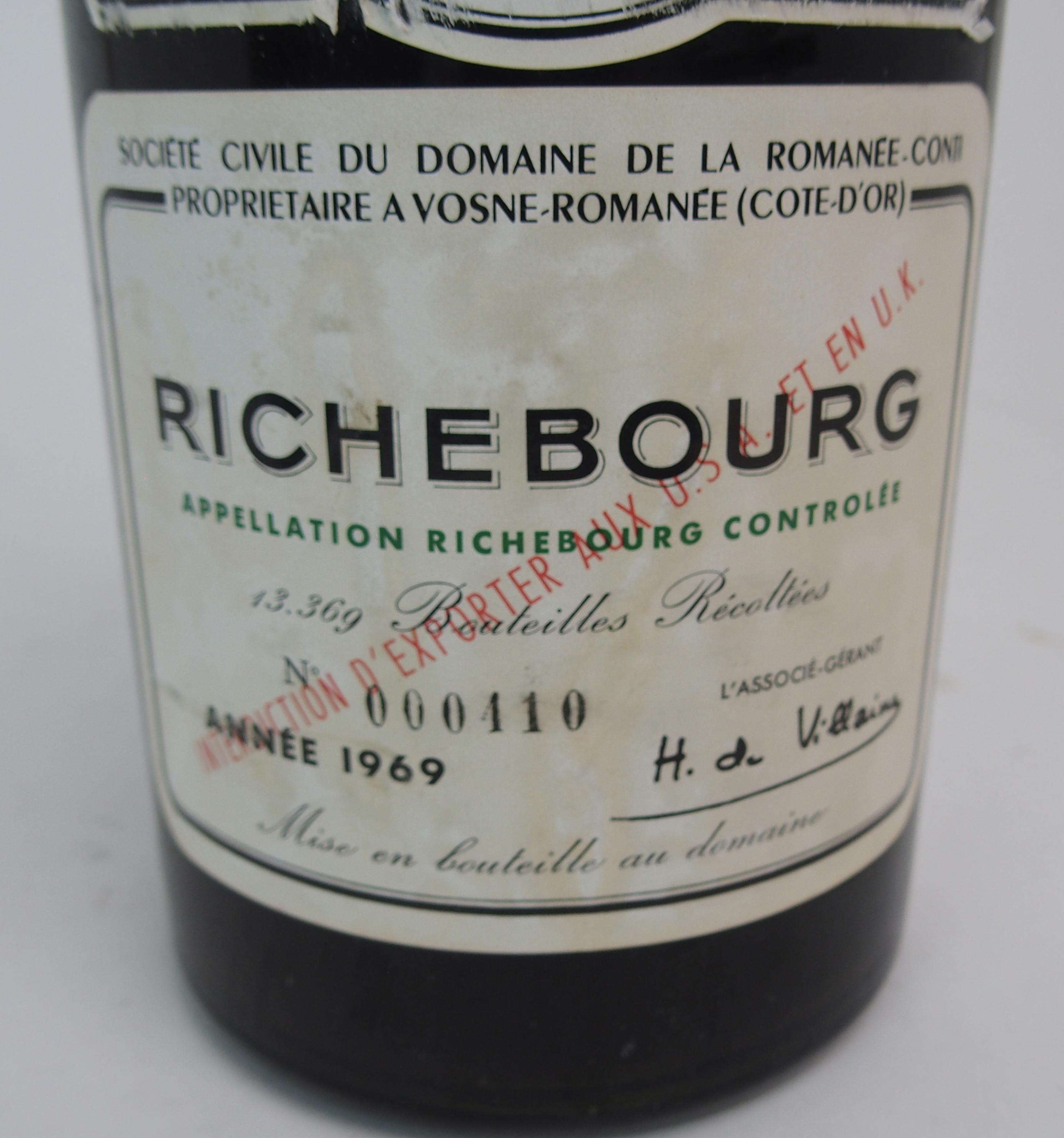 A MAGNUM OF RICHBOURG DOMAINE DE LA ROMANEE-CONTI Bottle No.000410, 1969 Condition Report: Available - Image 3 of 6
