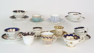 A COLLECTION OF 19TH CENTURY ENGLISH BLUE AND GILT DECORATED TEA AND COFFEE WARES including a