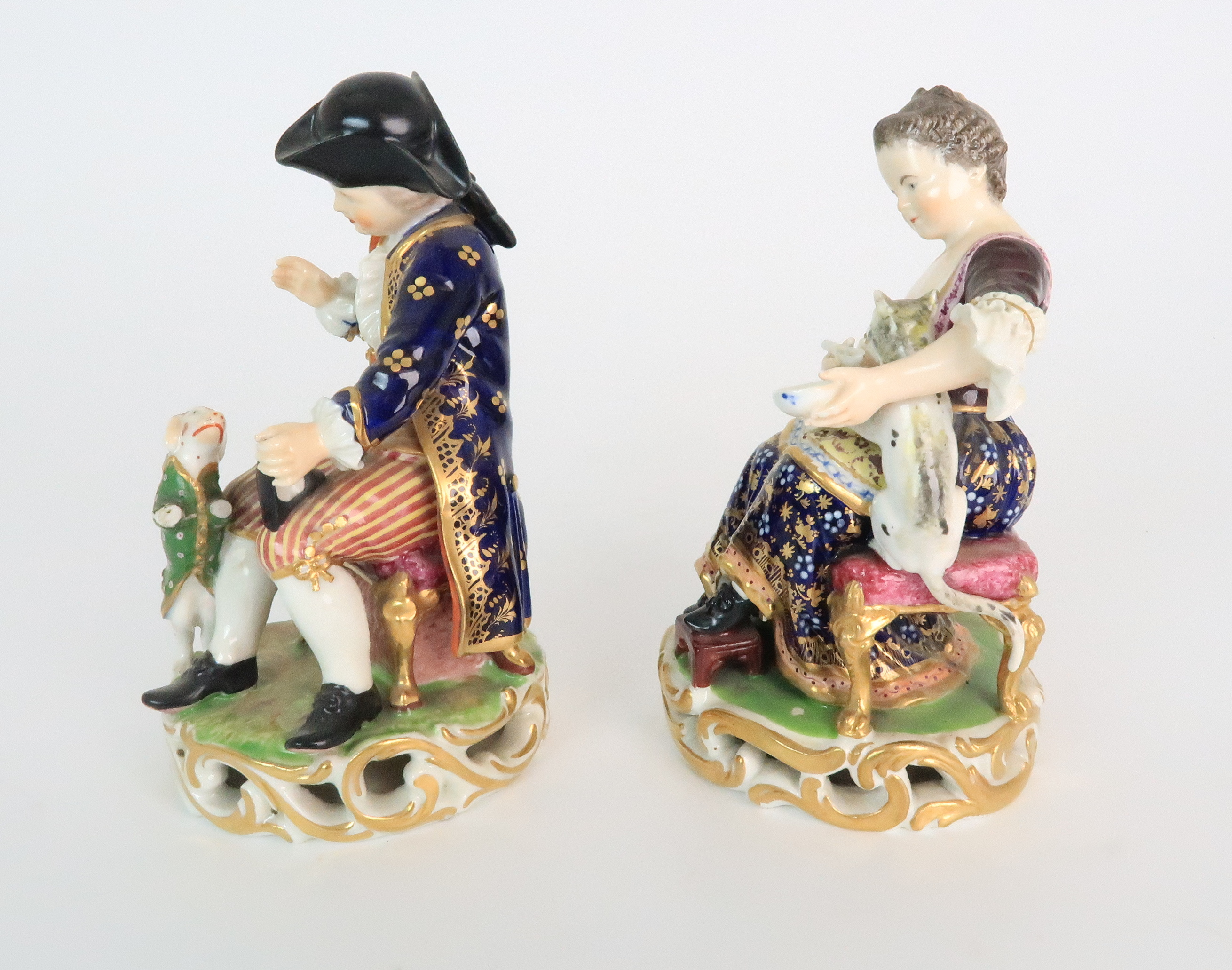 A PAIR OF DERBY PORCELAIN FIGURES early 19th century, modelled as a seated boy playing with a dog - Image 2 of 12