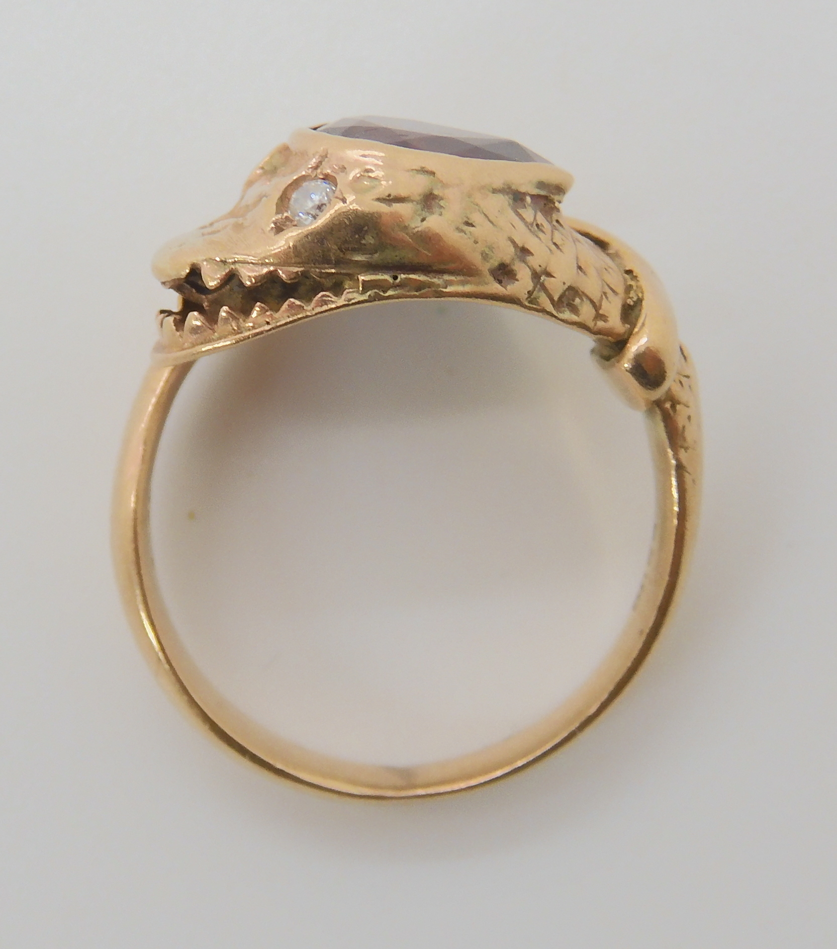 A 9CT ROSE GOLD GARNET AND DIAMOND SNAKE RING finger size J, weight 4.5gms Condition Report: Has - Image 8 of 8