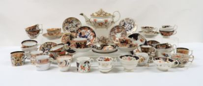 ASSORTED ANTIQUE IMARI PATTERN TEA AND COFFEEWARES including a Ridgway 578 pattern cup and saucer, a