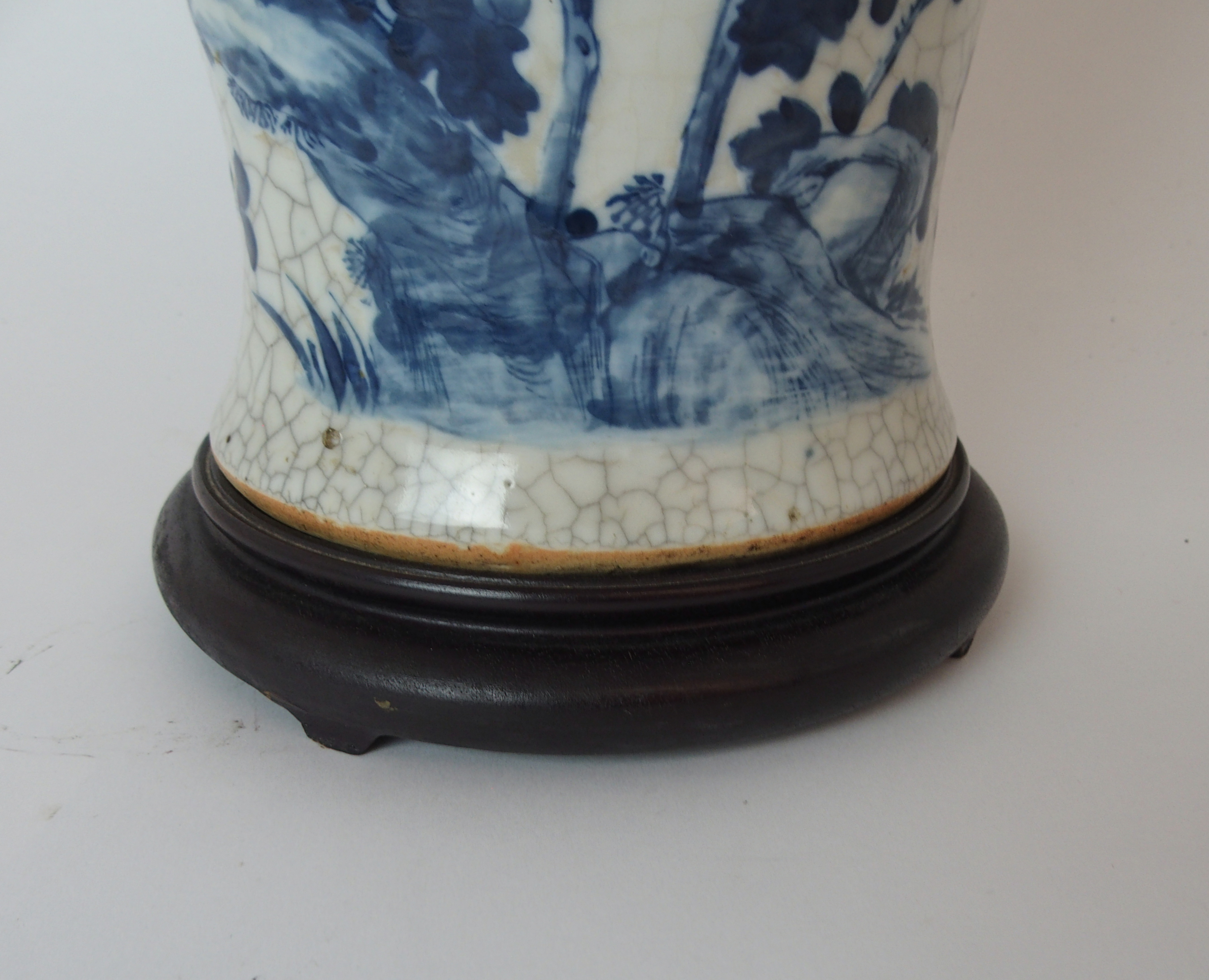A LARGE CHINESE BLUE AND WHITE MOULDED VASE painted with birds and bats amongst peonies - Image 2 of 11