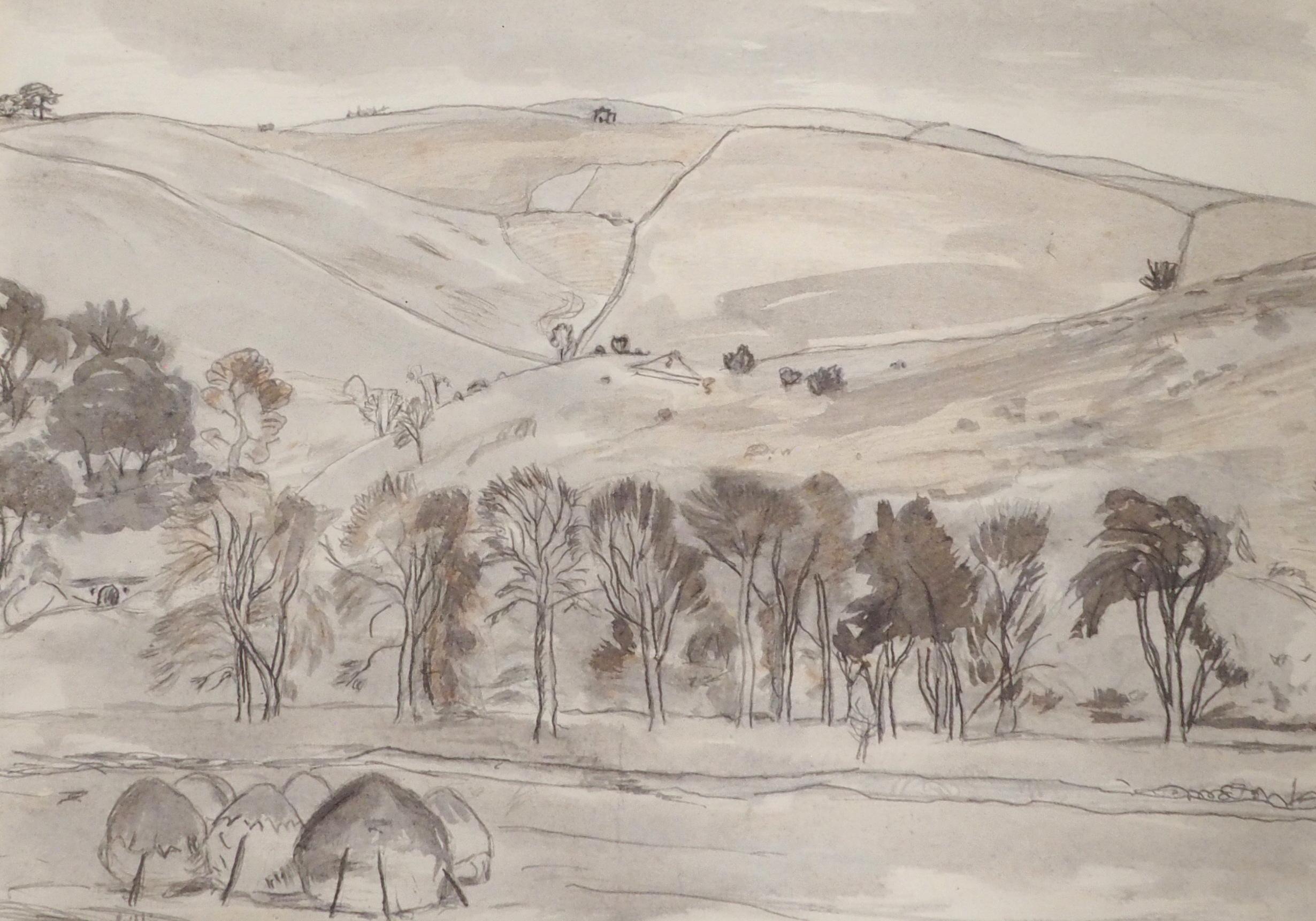 •SIR WILLIAM GEORGE GILLIES CBE, LLD, RA, RSA, PRSW (SCOTTISH 1898-1973) ABOVE LYNE VALLEY Pencil
