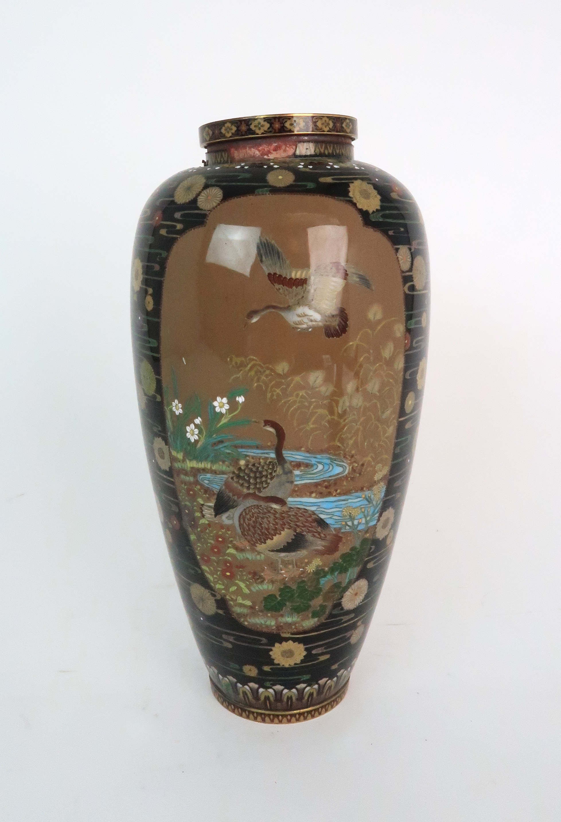 A JAPANESE CLOISONNE BALUSTER VASE finely decorated with panels of birds, butterflies, plants and - Image 5 of 15
