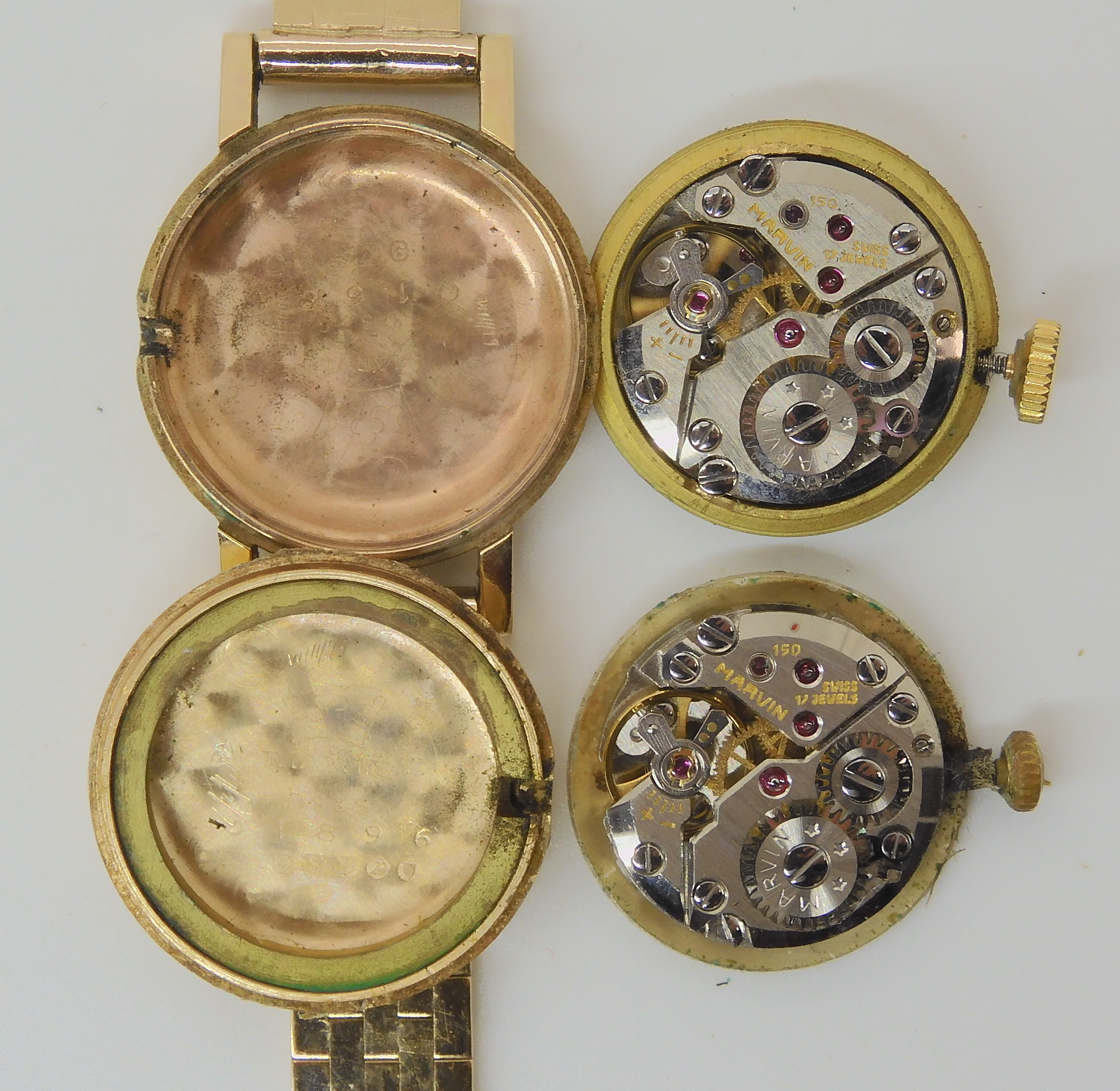 TWO 9CT GOLD LADIES MARVIN WATCHES the first with silvered dial black Roman numerals and baton - Image 3 of 5