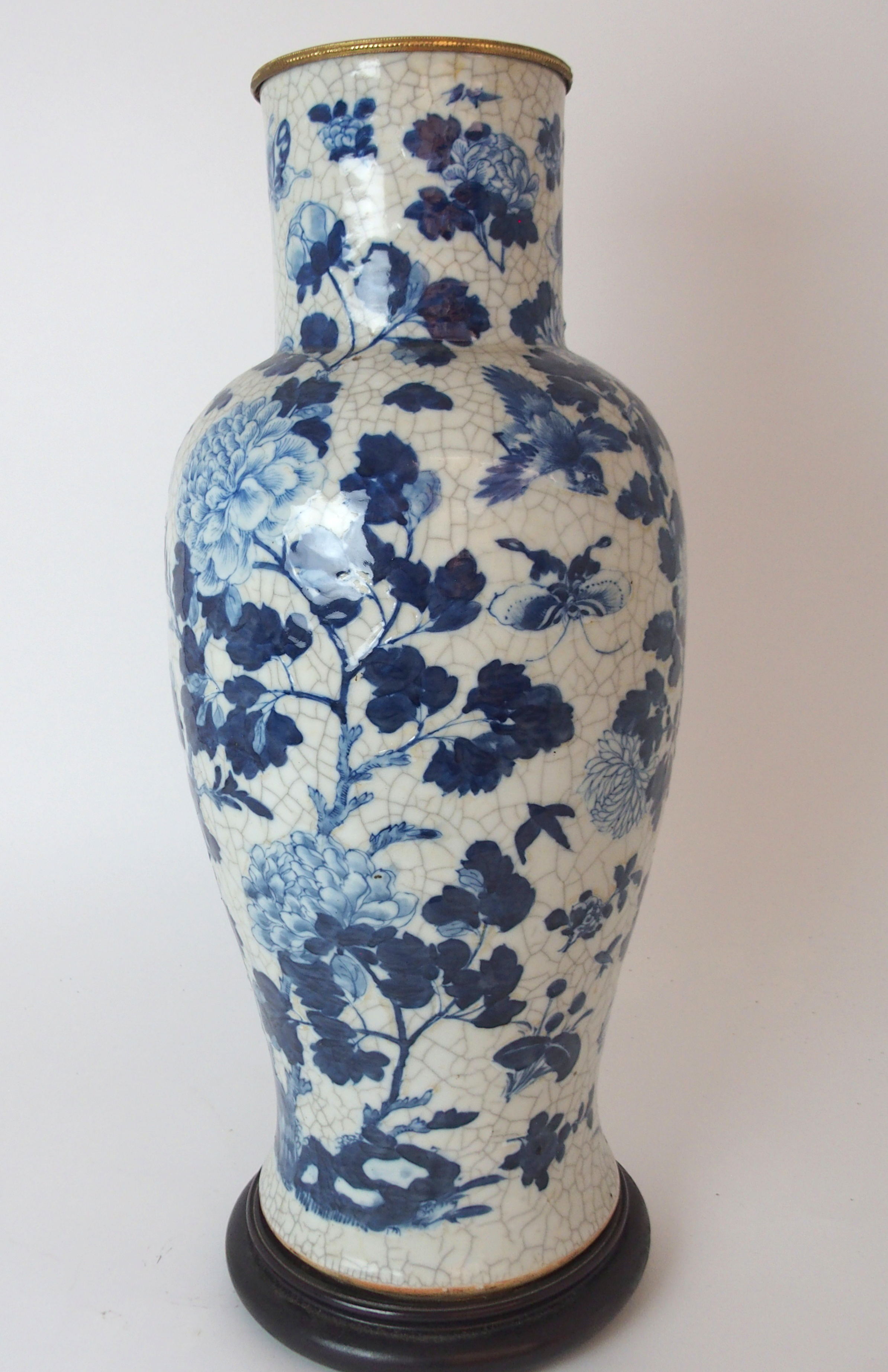 A LARGE CHINESE BLUE AND WHITE MOULDED VASE painted with birds and bats amongst peonies - Image 7 of 11
