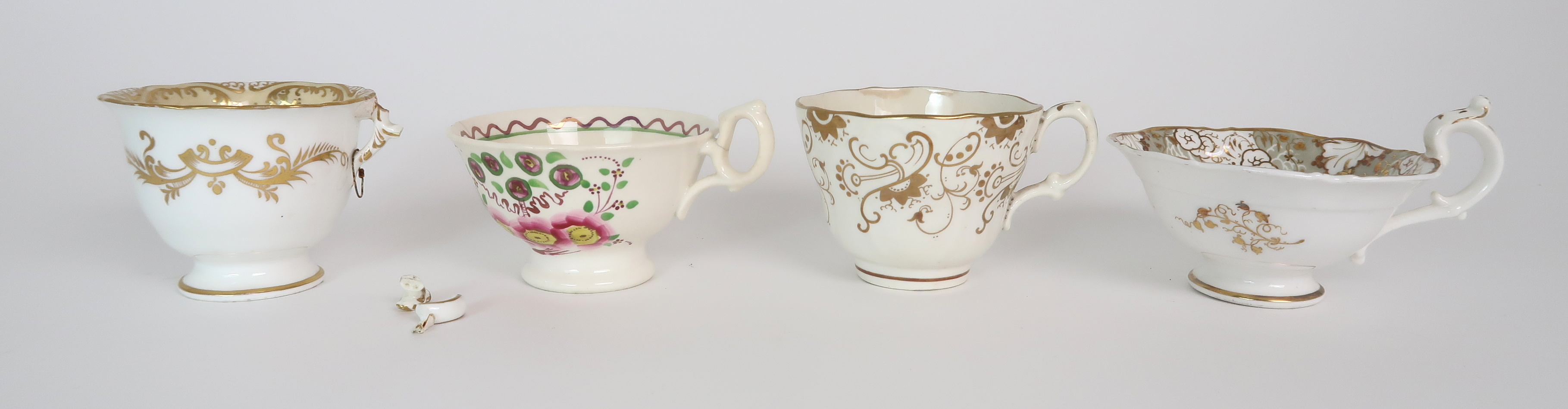 A COLLECTION OF 19TH CENTURY ENGLISH TEA AND COFFEE WARES the white ground with either grey and gilt - Image 4 of 22