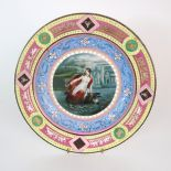 A VIENNA PORCELAIN PLATE painted with Europa and the bull, surrounded by colourful bands with