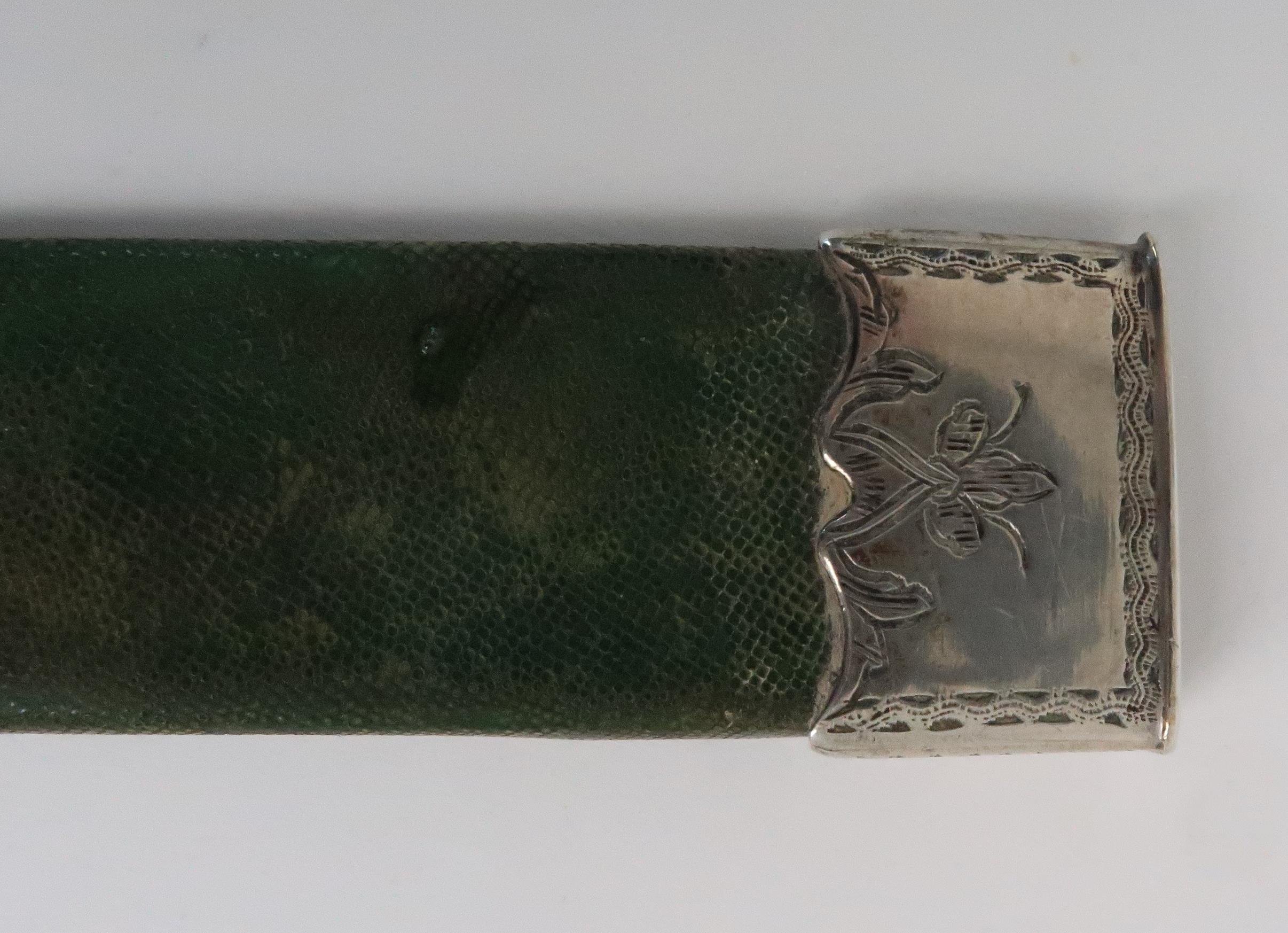 AN ANTIQUE DAGGER the wooden hilt with silver plated mounts in silver plate mounted green shagreen - Image 6 of 6