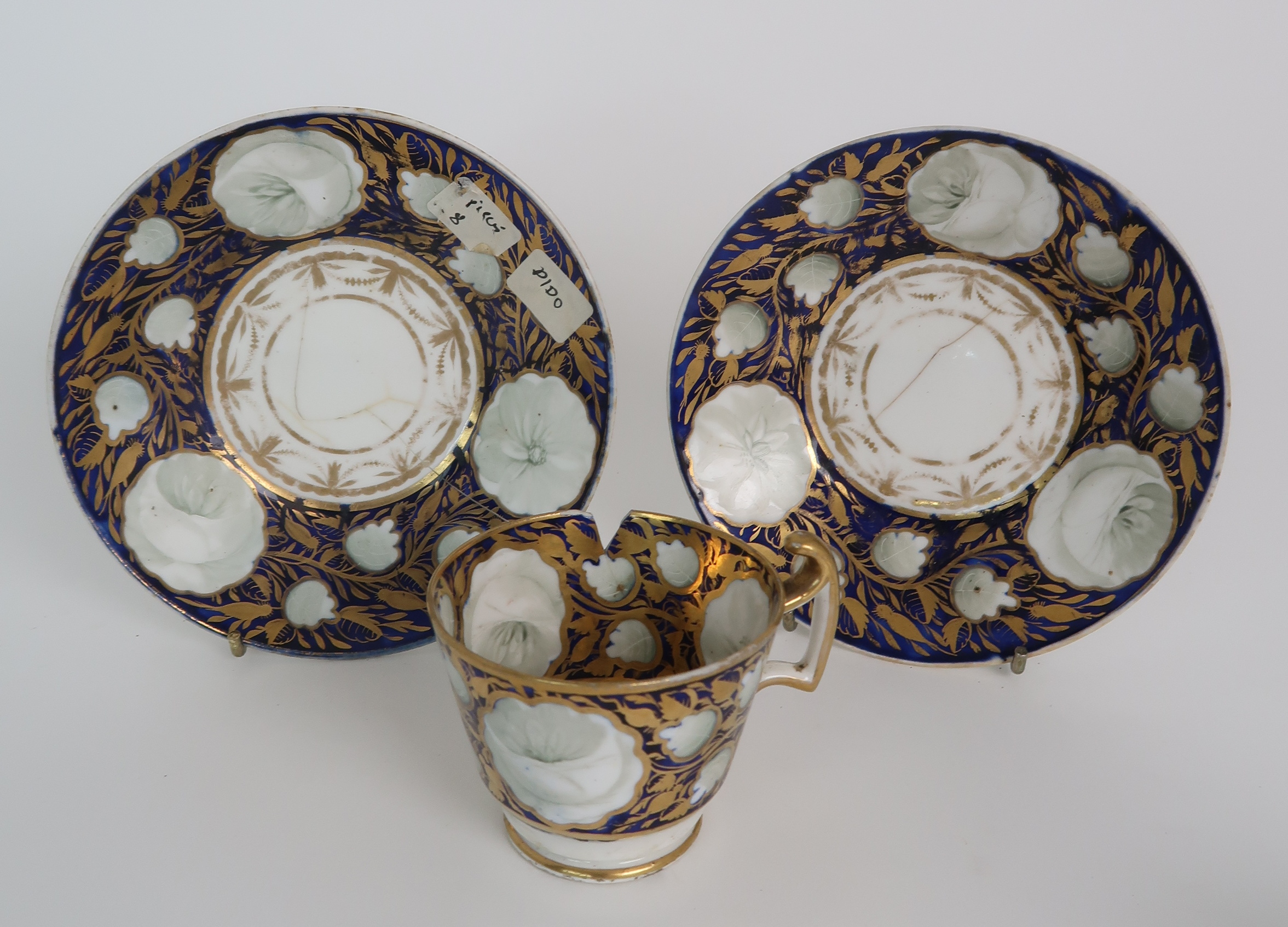 A COLLECTION OF 19TH CENTURY ENGLISH BLUE AND GILT DECORATED TEA AND COFFEE WARES including a - Image 19 of 23
