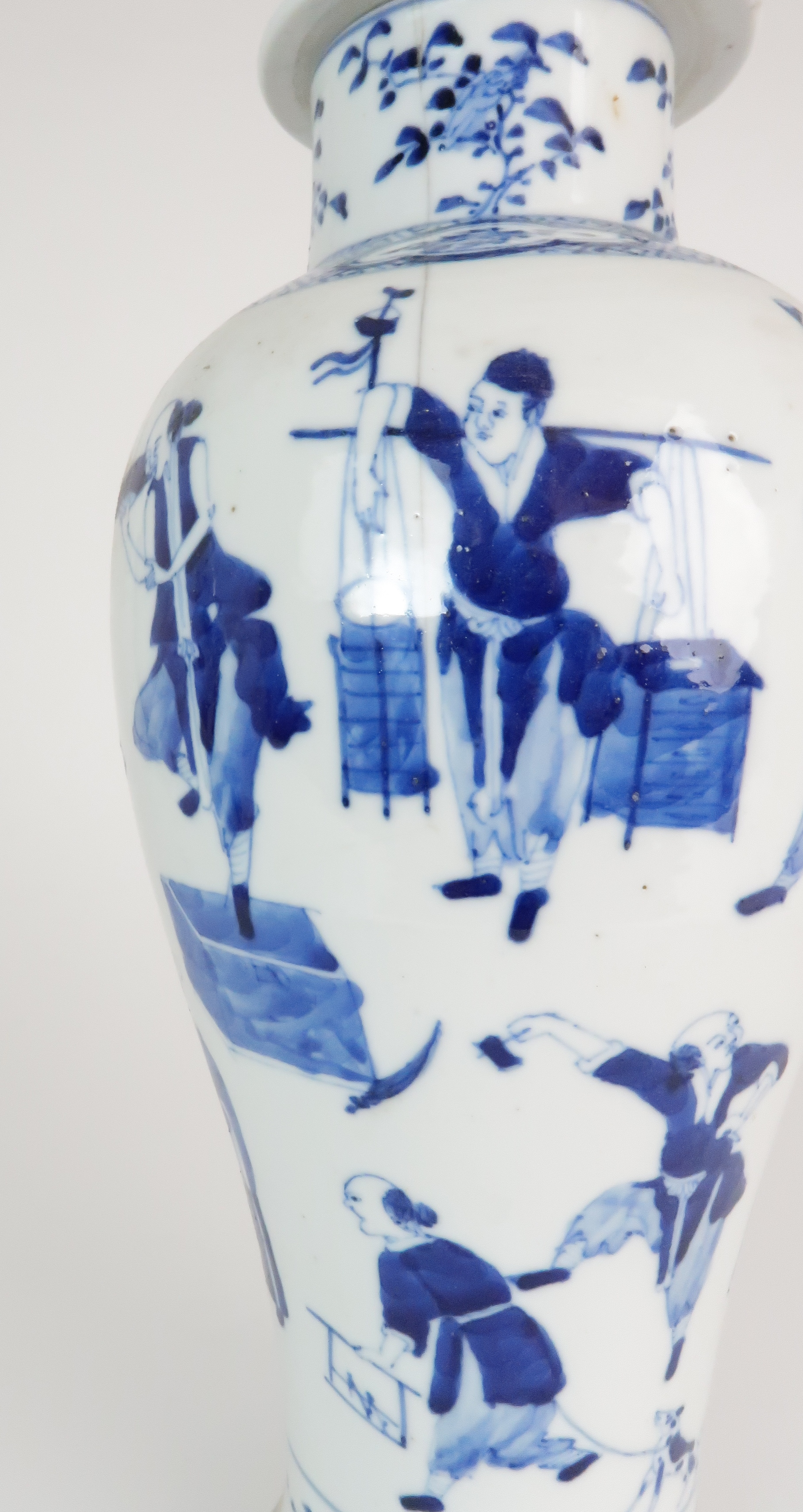 A CHINESE BLUE AND WHITE BALUSTER VASE AND COVER painted with numerous figures within foliate - Image 7 of 19