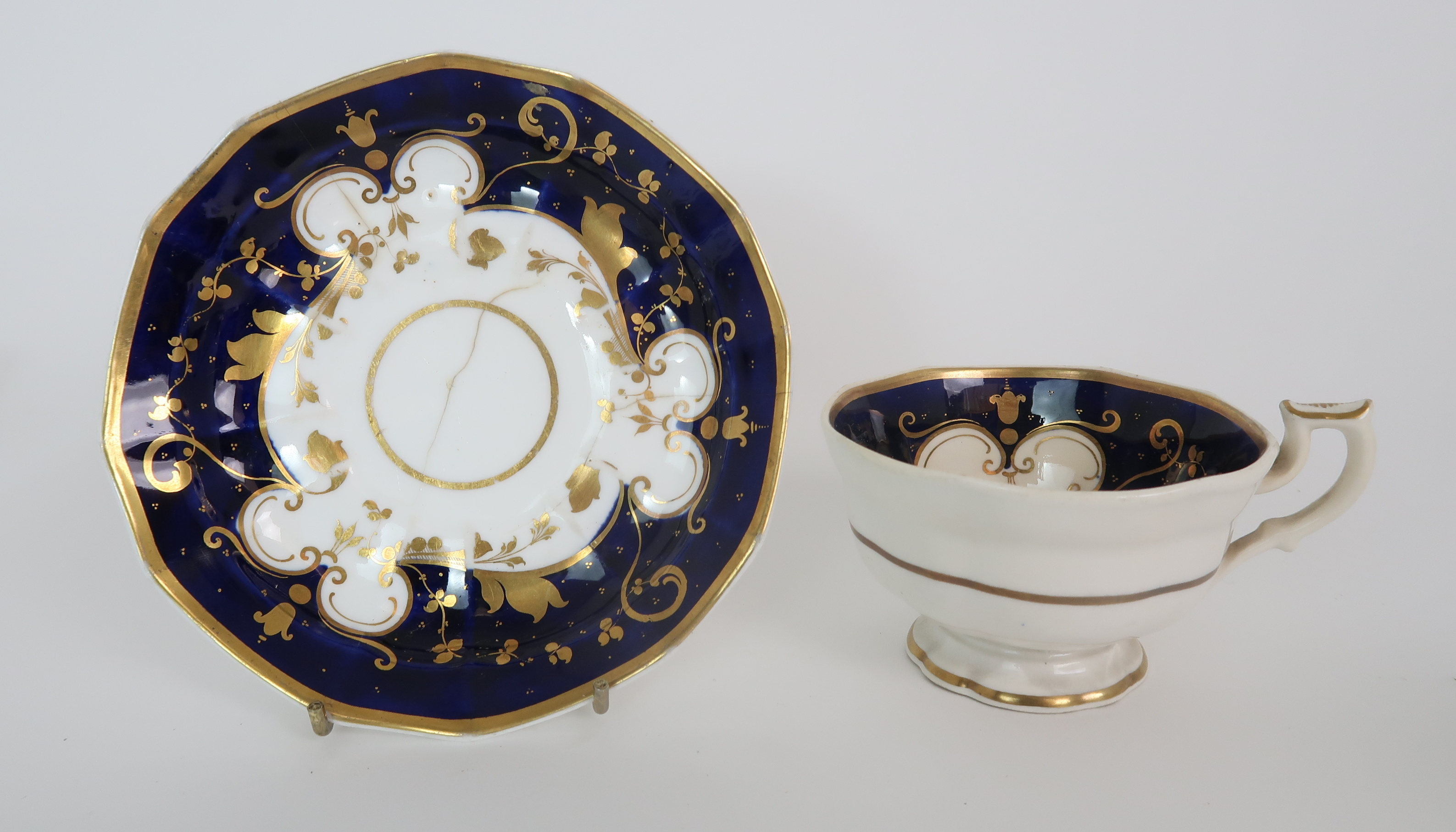 A COLLECTION OF 19TH CENTURY ENGLISH BLUE AND GILT DECORATED TEA AND COFFEE WARES including a - Image 4 of 23