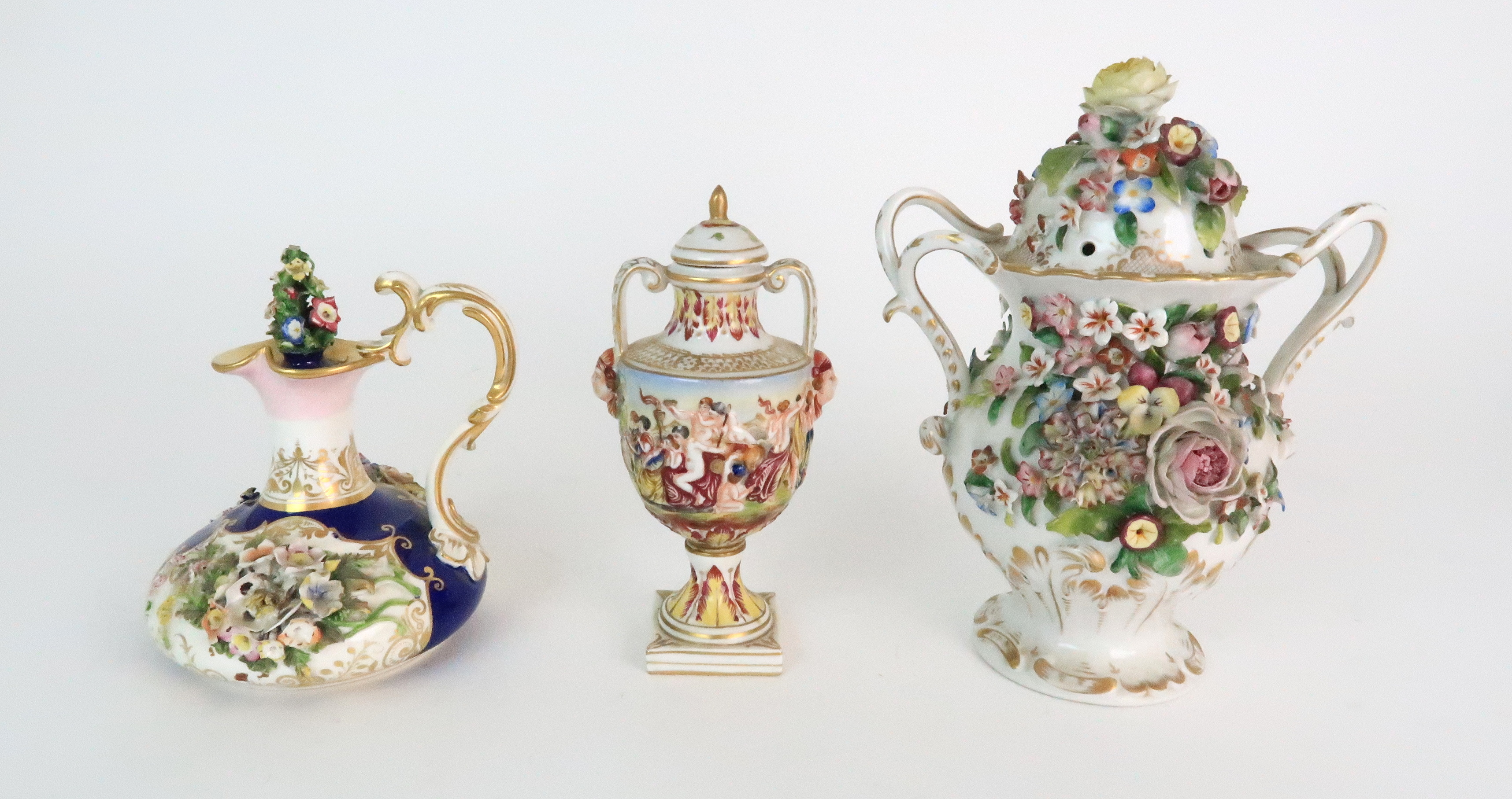 A PAIR OF CONTINENTAL PORCELAIN URNS each decorated with strings of flowers and gilt dot and dash - Image 9 of 16