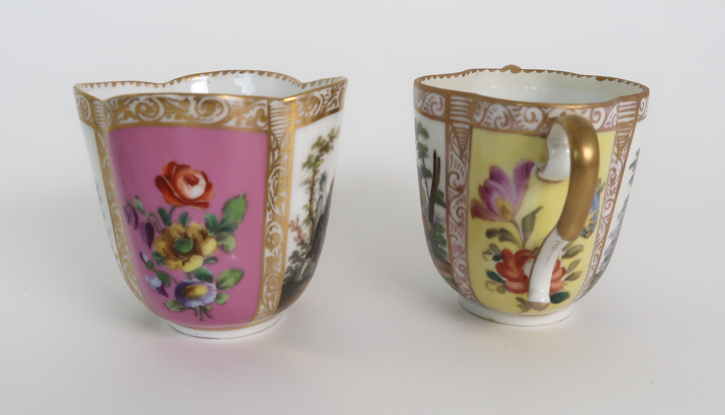 THREE CAPODIMONTE CUPS AND SAUCERS decorated with bacchanalian scenes, a pair of Sevres pots - Image 9 of 16