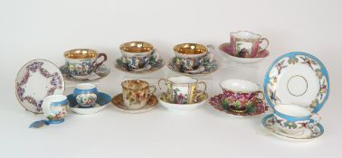 THREE CAPODIMONTE CUPS AND SAUCERS decorated with bacchanalian scenes, a pair of Sevres pots