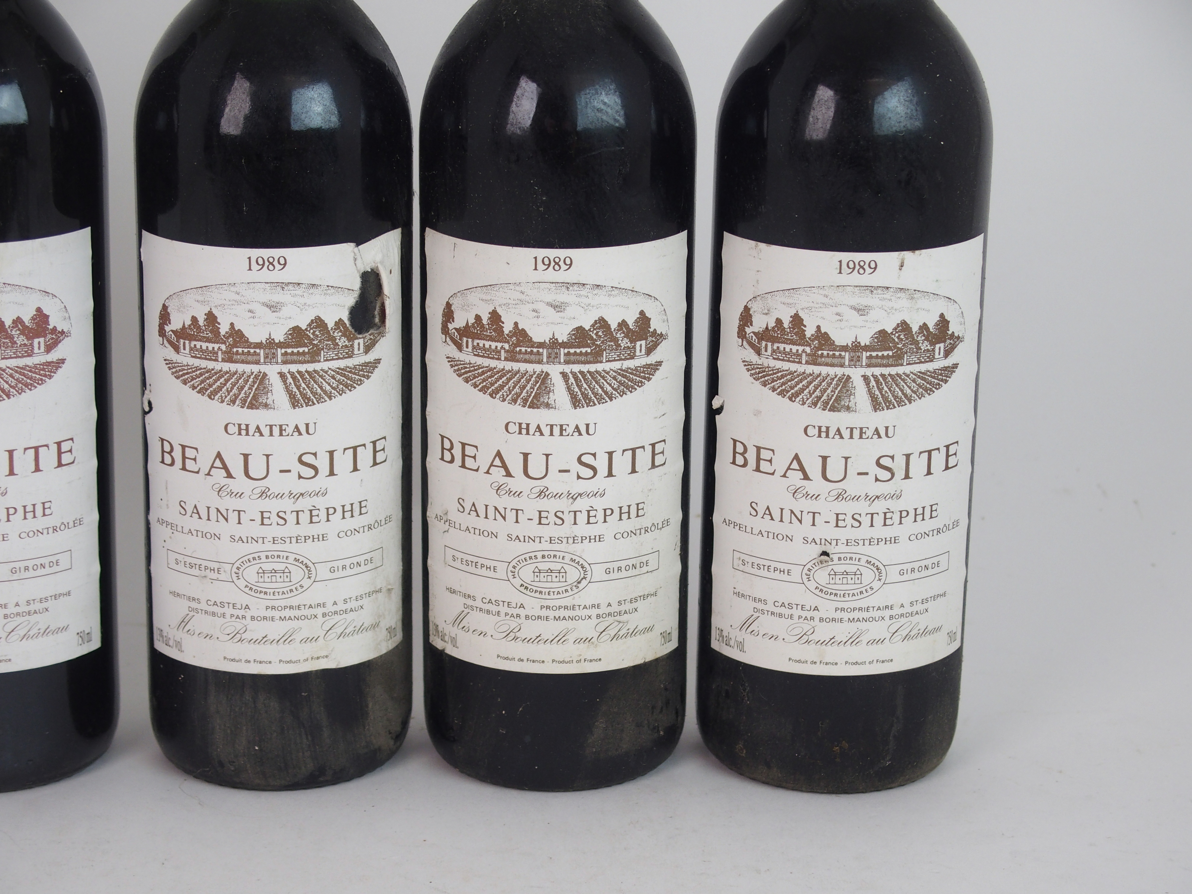 ELEVEN BOTTLES OF CHATEAU BEAU-SITE, SAINT ESTEPHE, 1989 13%vol, 750ml, labels stained and some torn - Image 7 of 8