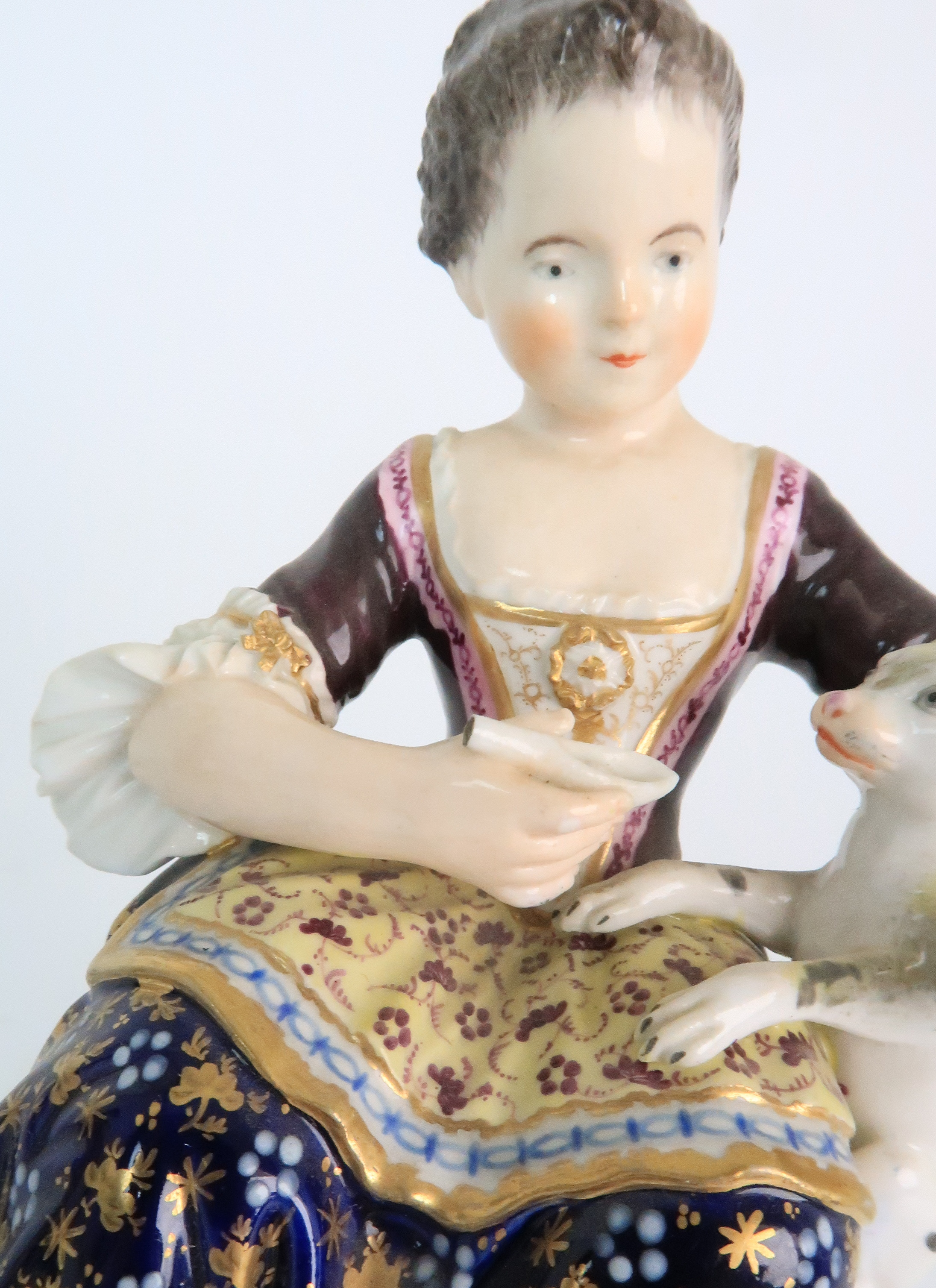 A PAIR OF DERBY PORCELAIN FIGURES early 19th century, modelled as a seated boy playing with a dog - Image 7 of 12