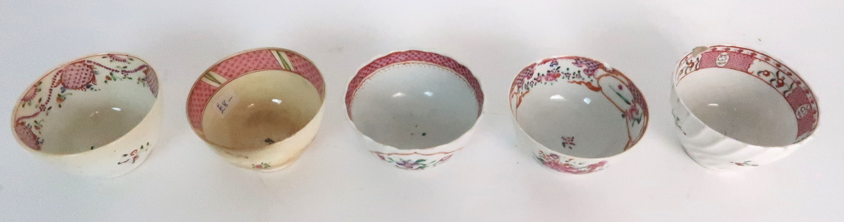 A COLLECTION OF TEA BOWLS AND SAUCERS each with pink scale and floral decoration including New Hall; - Image 6 of 12
