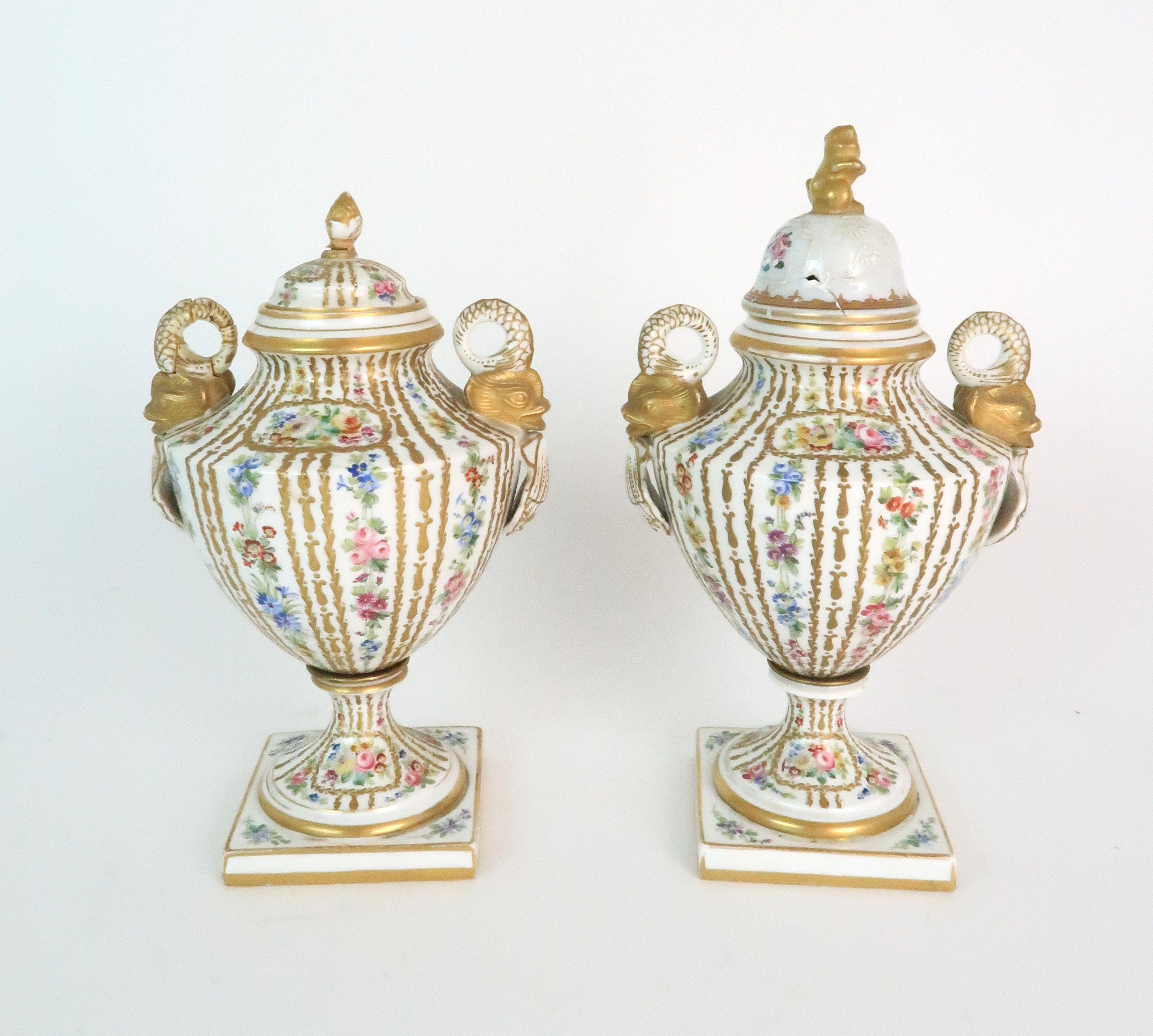 A PAIR OF CONTINENTAL PORCELAIN URNS each decorated with strings of flowers and gilt dot and dash - Image 2 of 16