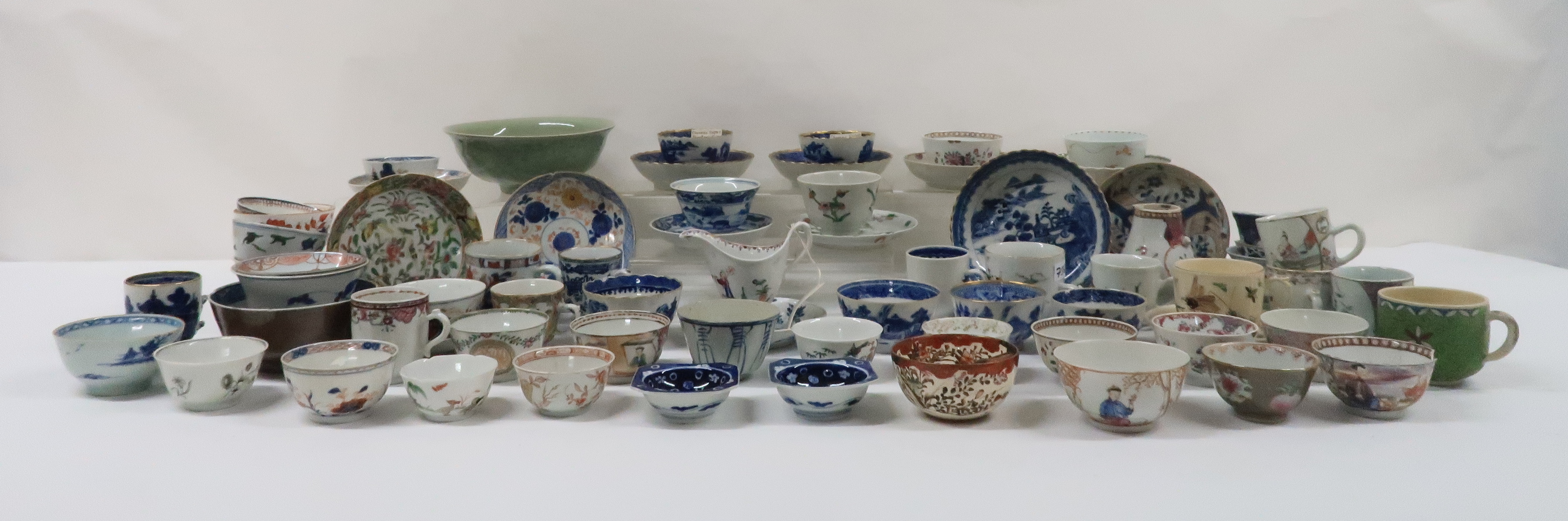 A COLLECTION OF CHINESE EXPORT TEAWARES and others including famille rose, Chien Lung, blue and