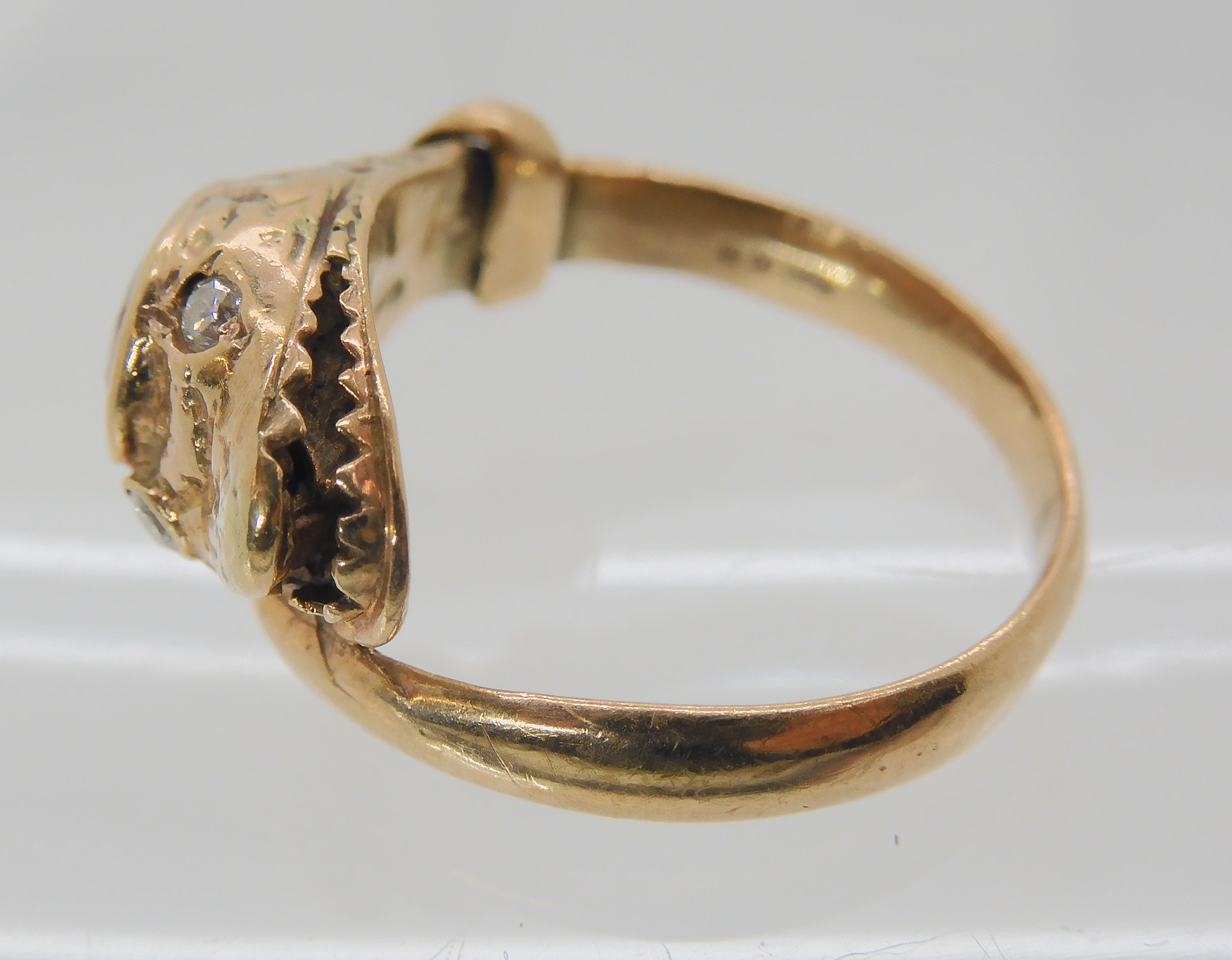 A 9CT ROSE GOLD GARNET AND DIAMOND SNAKE RING finger size J, weight 4.5gms Condition Report: Has - Image 5 of 8