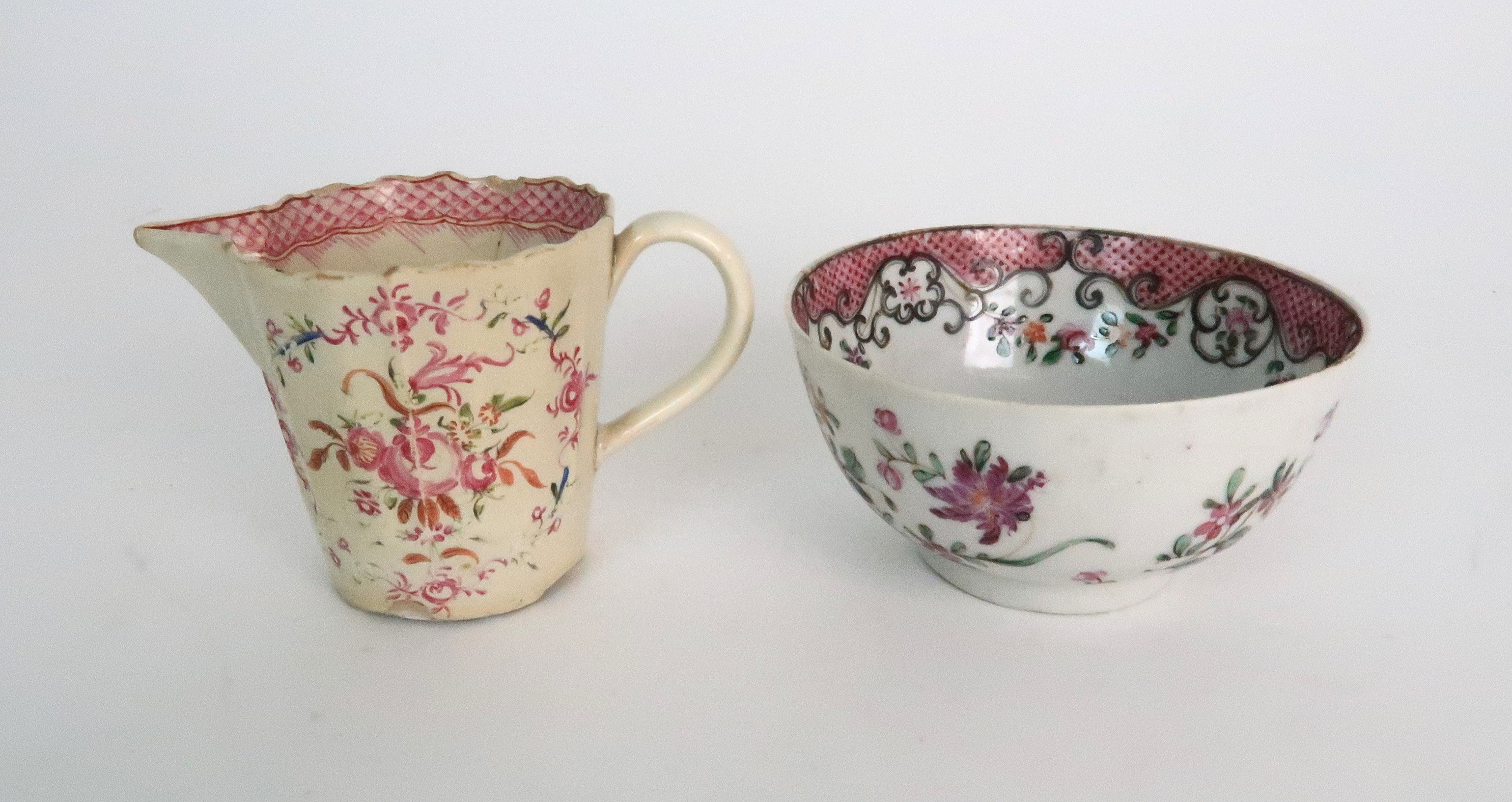 A COLLECTION OF TEA BOWLS AND SAUCERS each with pink scale and floral decoration including New Hall; - Image 11 of 12