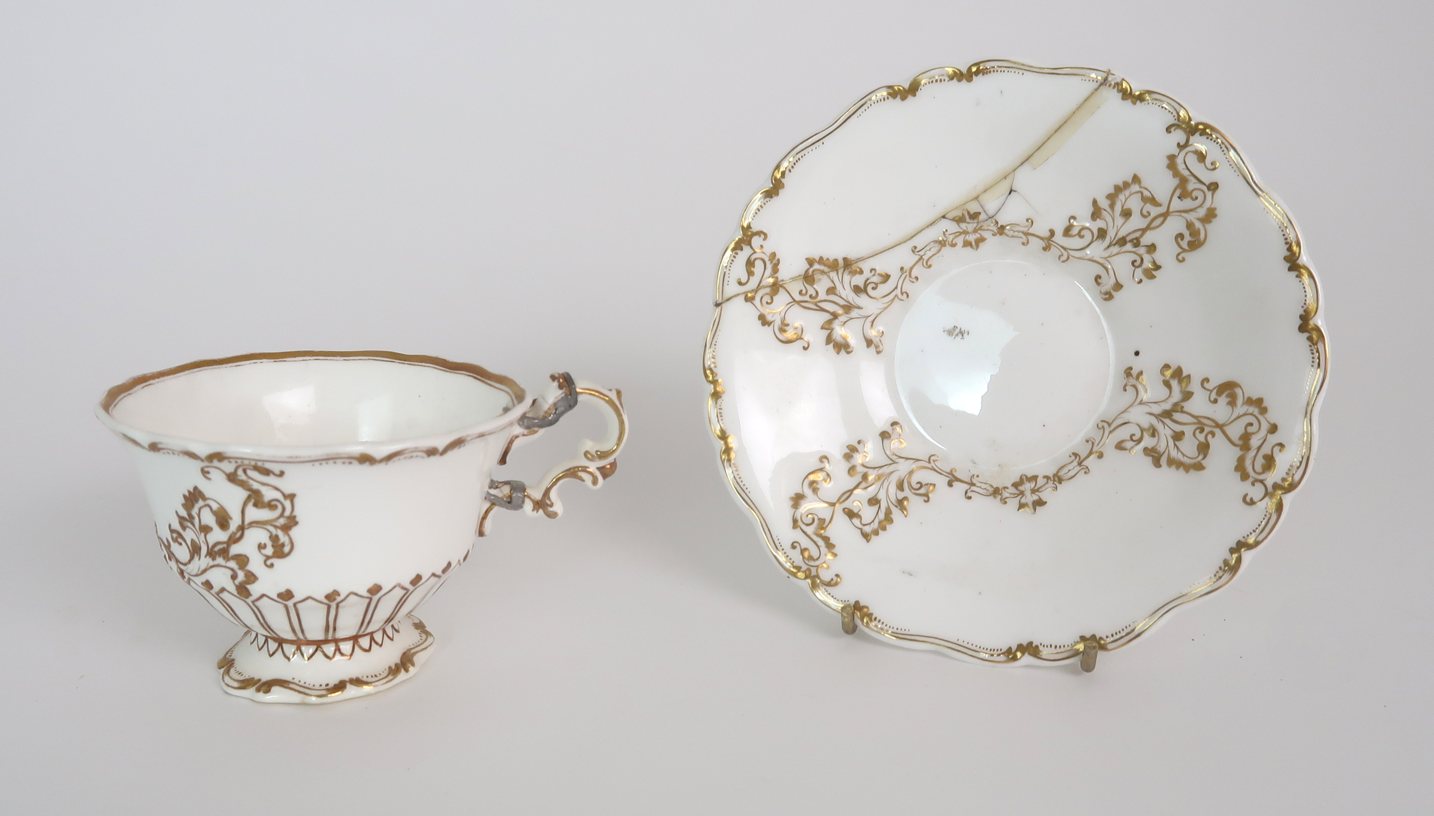 A COLLECTION OF 19TH CENTURY ENGLISH TEA AND COFFEE WARES the white ground with either grey and gilt - Image 6 of 22