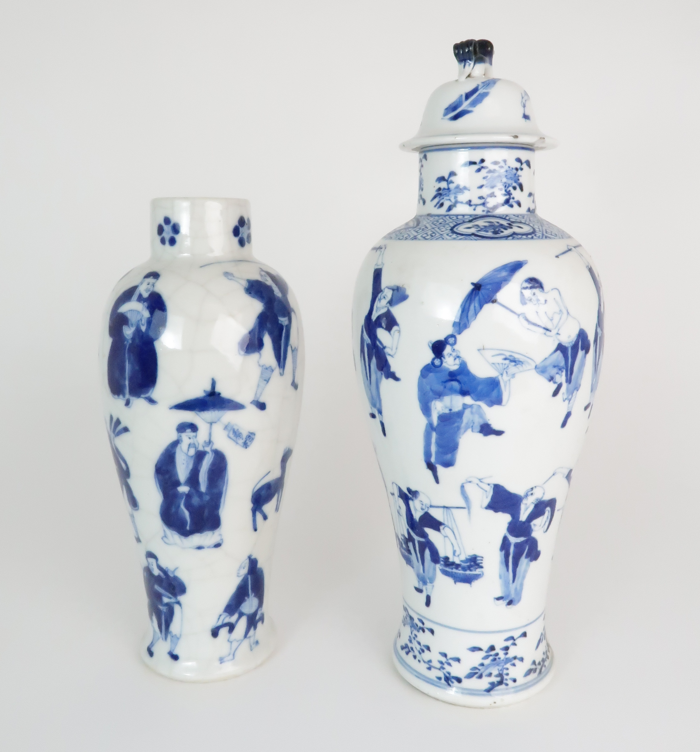 A CHINESE BLUE AND WHITE BALUSTER VASE AND COVER painted with numerous figures within foliate - Image 4 of 19
