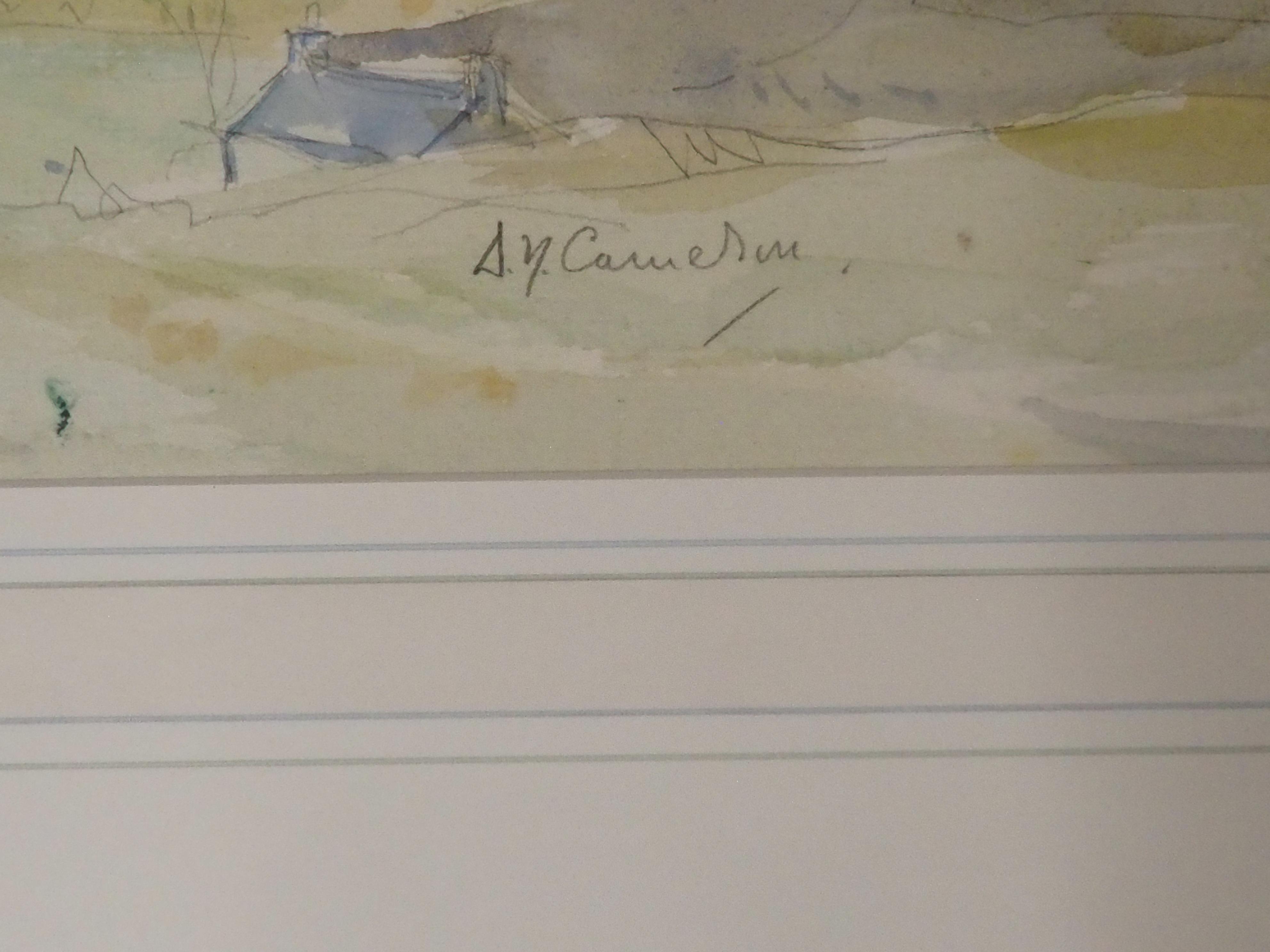 SIR DAVID YOUNG CAMERON RA, RSA, RWS, RSW, RE (SCOTTISH 1865-1945) THE LAKE OF MENTEITH AND - Image 3 of 5