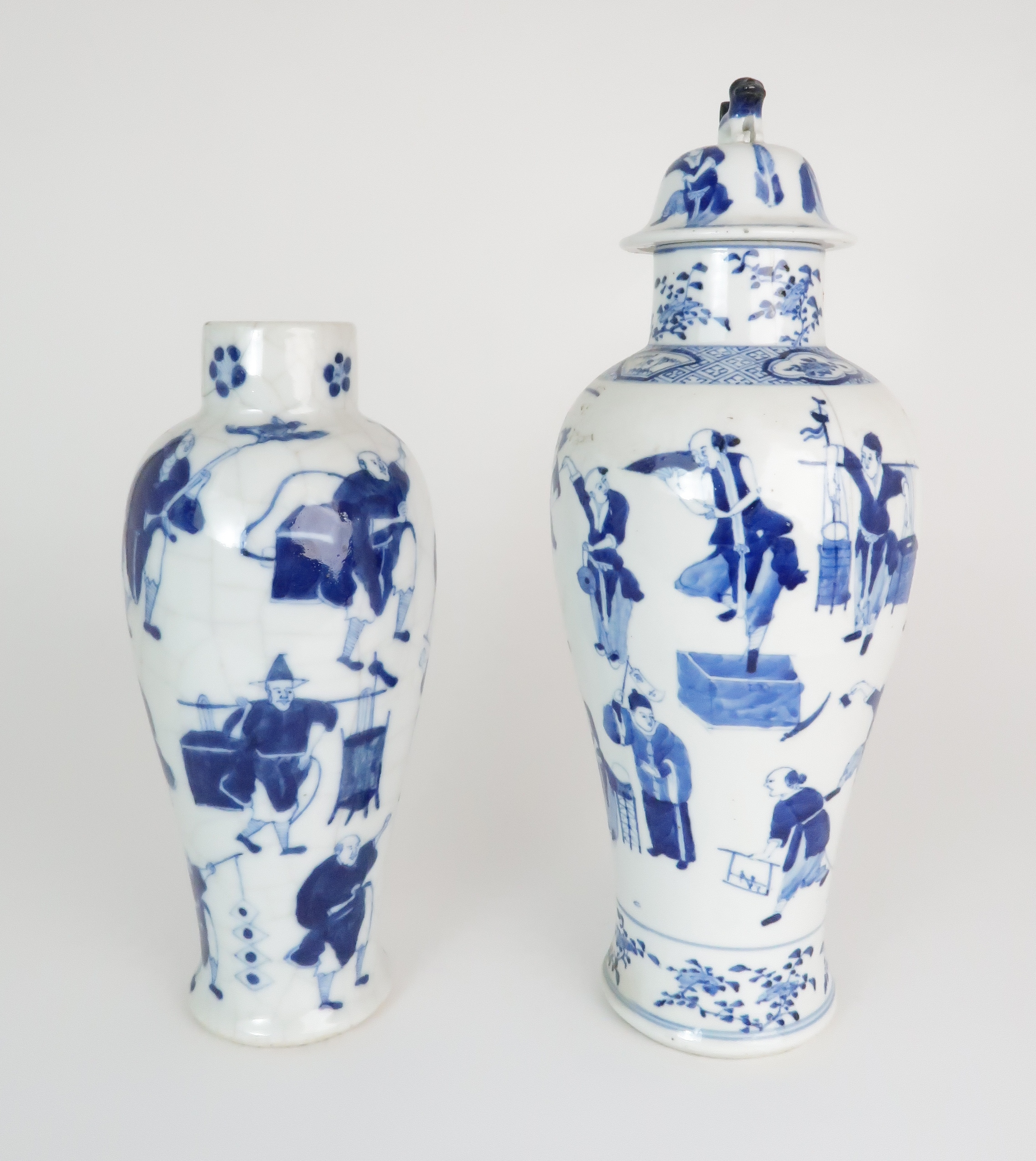 A CHINESE BLUE AND WHITE BALUSTER VASE AND COVER painted with numerous figures within foliate - Image 6 of 19