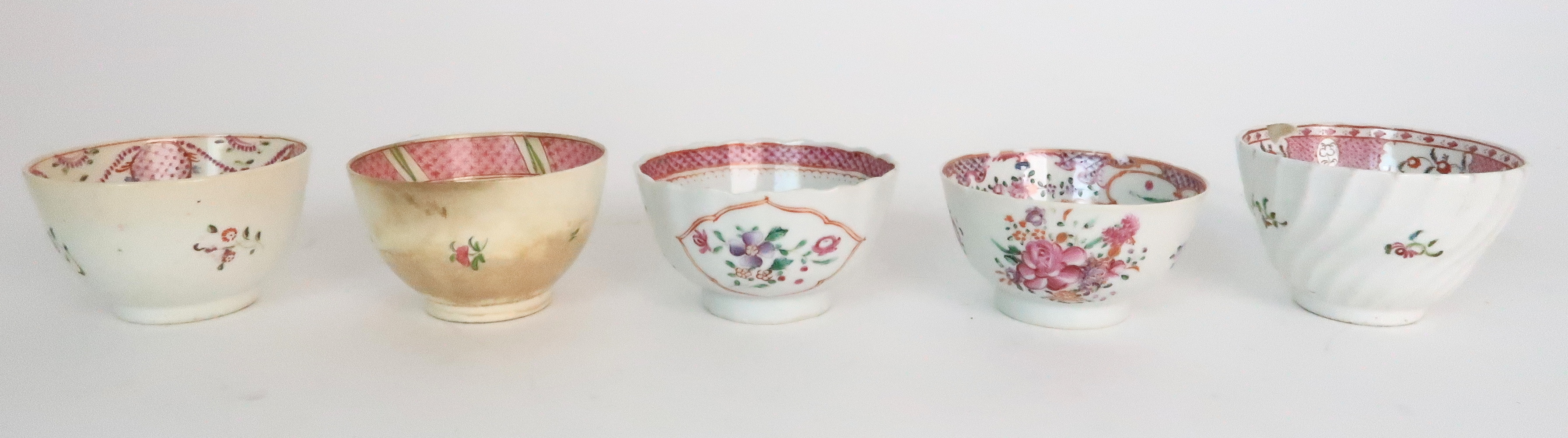 A COLLECTION OF TEA BOWLS AND SAUCERS each with pink scale and floral decoration including New Hall; - Image 5 of 12