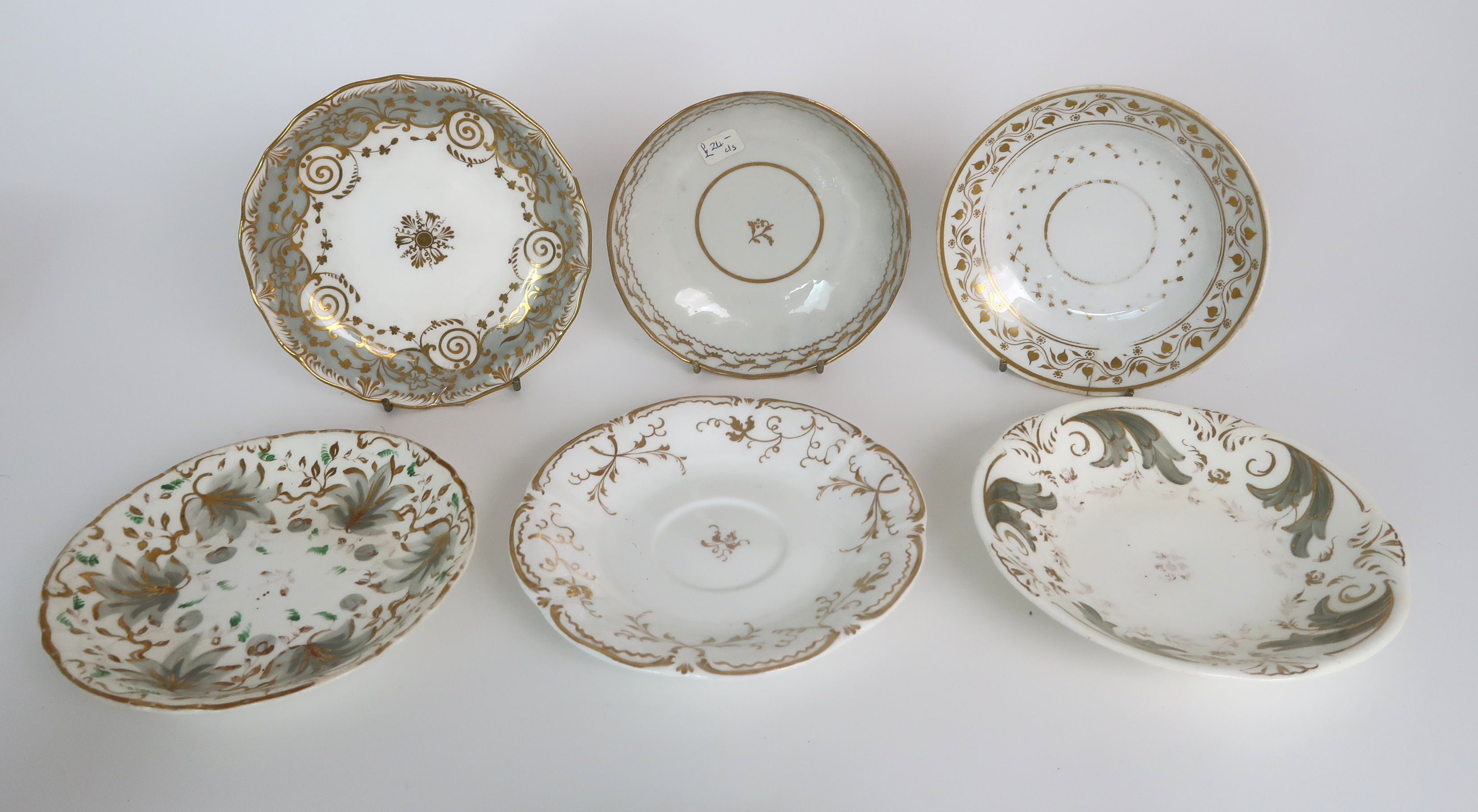 A COLLECTION OF 19TH CENTURY ENGLISH TEA AND COFFEE WARES the white ground with either grey and gilt - Image 8 of 22