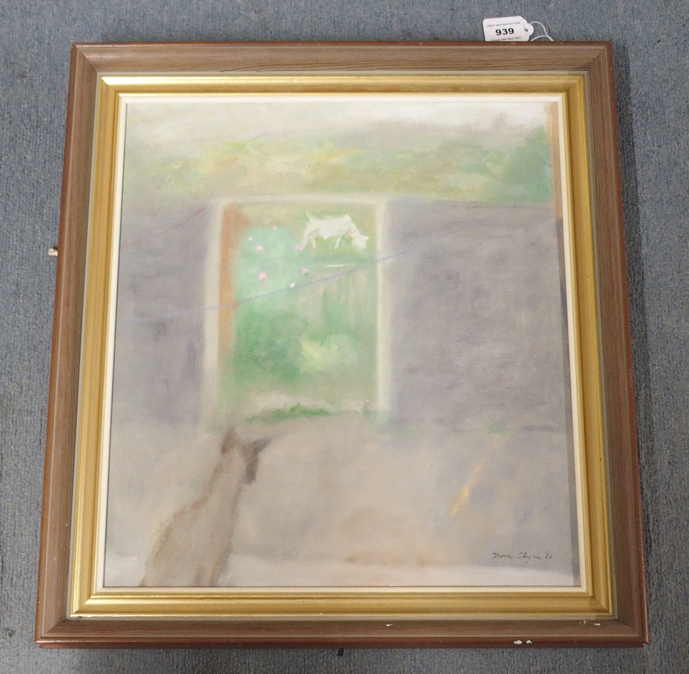 THORA CLYNE SSWA (SCOTTISH 1937-2020) WILD ROSE AND GOAT Oil on canvas, signed and dated (19)80, - Image 2 of 5