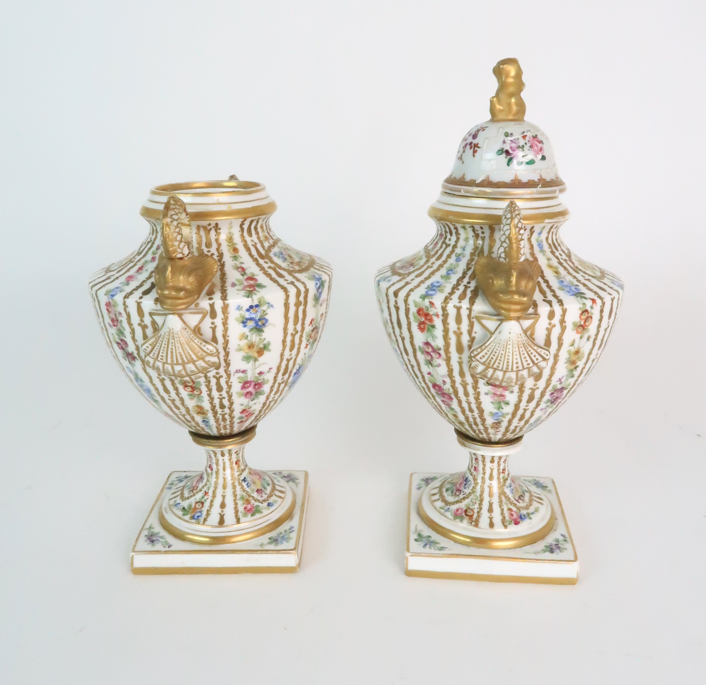 A PAIR OF CONTINENTAL PORCELAIN URNS each decorated with strings of flowers and gilt dot and dash - Image 5 of 16