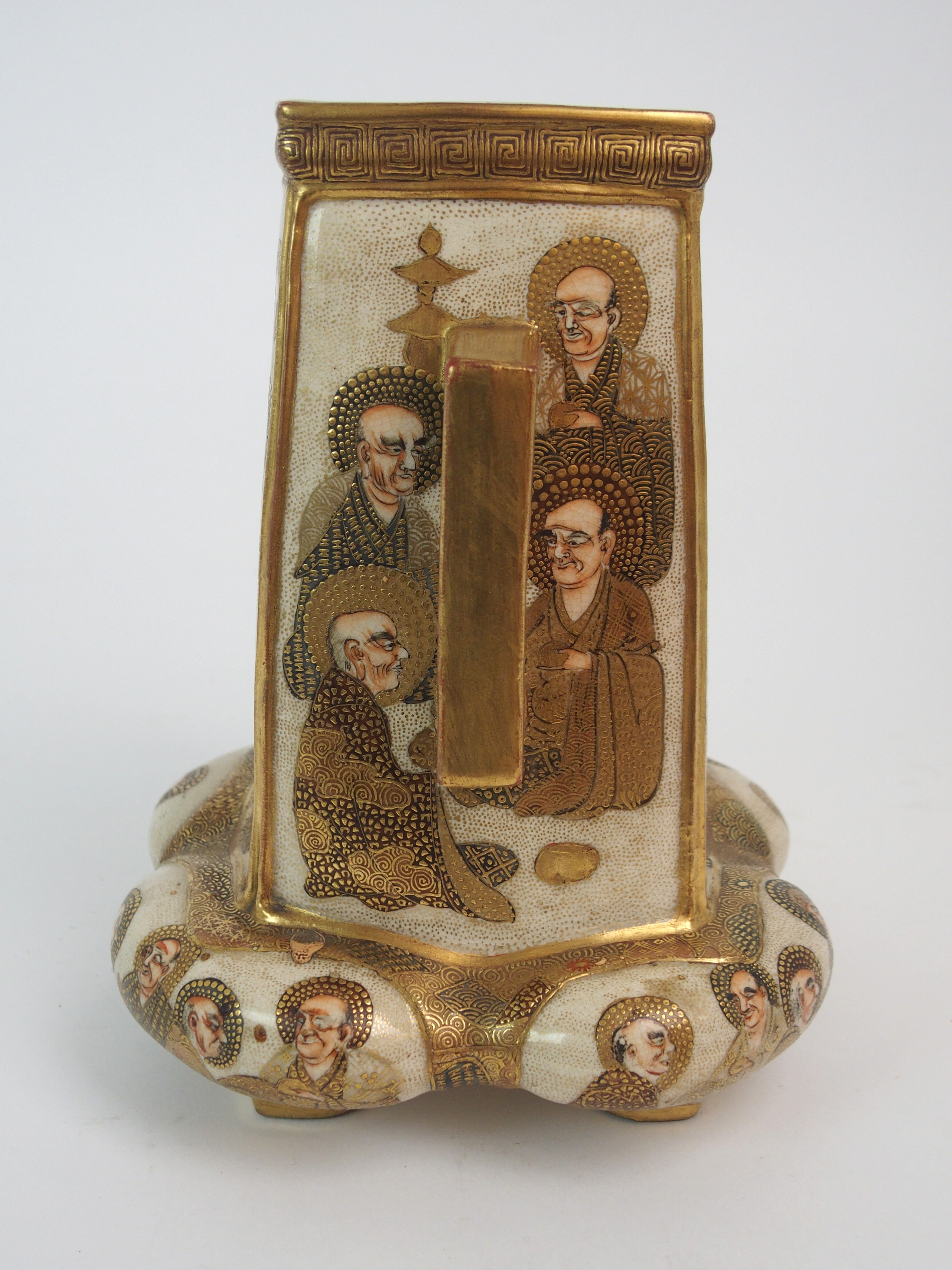 A SATSUMA SQUARE TAPERING TWO HANDLED VASE painted with mythical gods on a gilt ground, beneath - Image 4 of 9