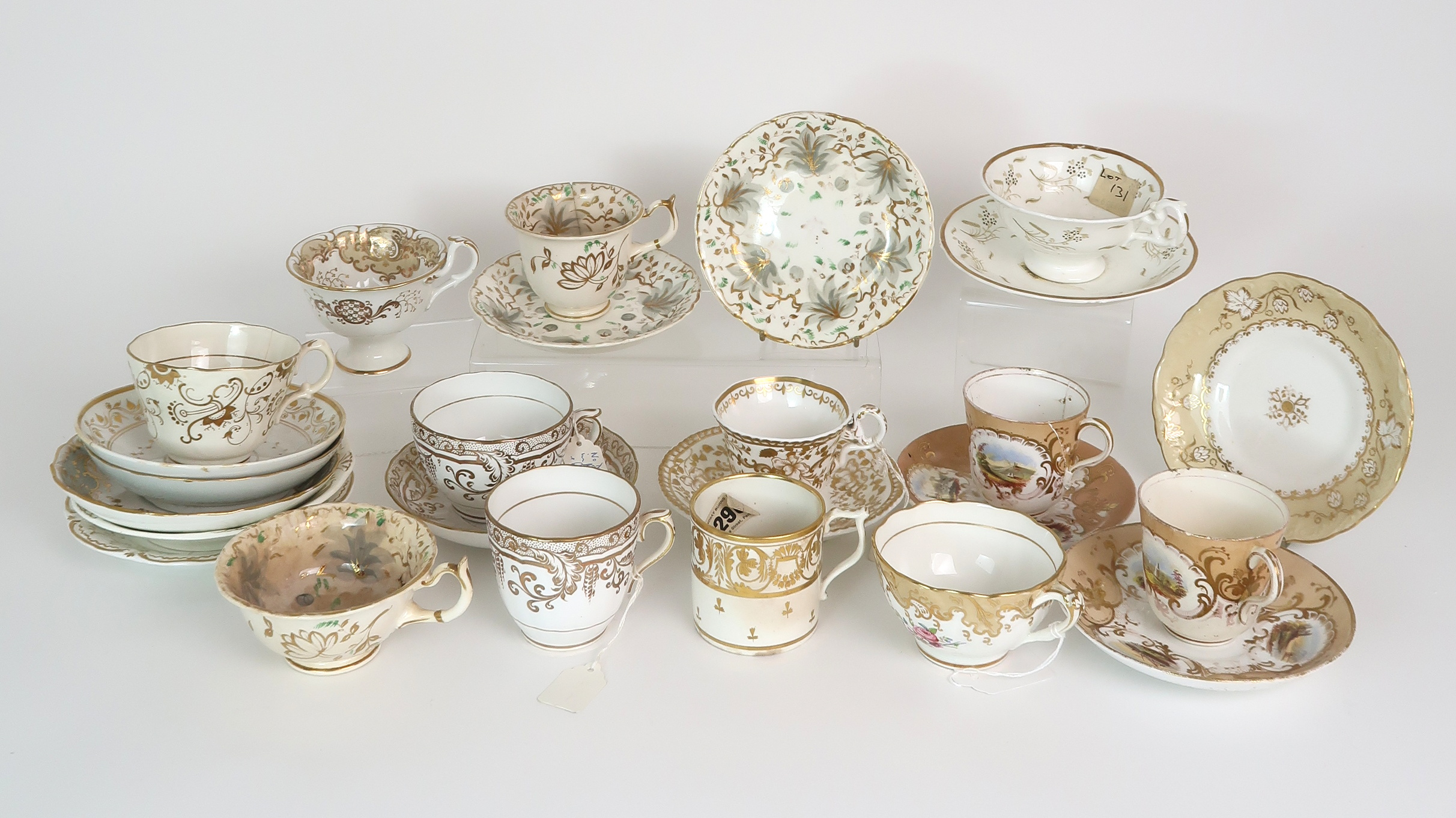 A COLLECTION OF 19TH CENTURY ENGLISH TEA AND COFFEE WARES the white ground with either grey and gilt - Image 7 of 22
