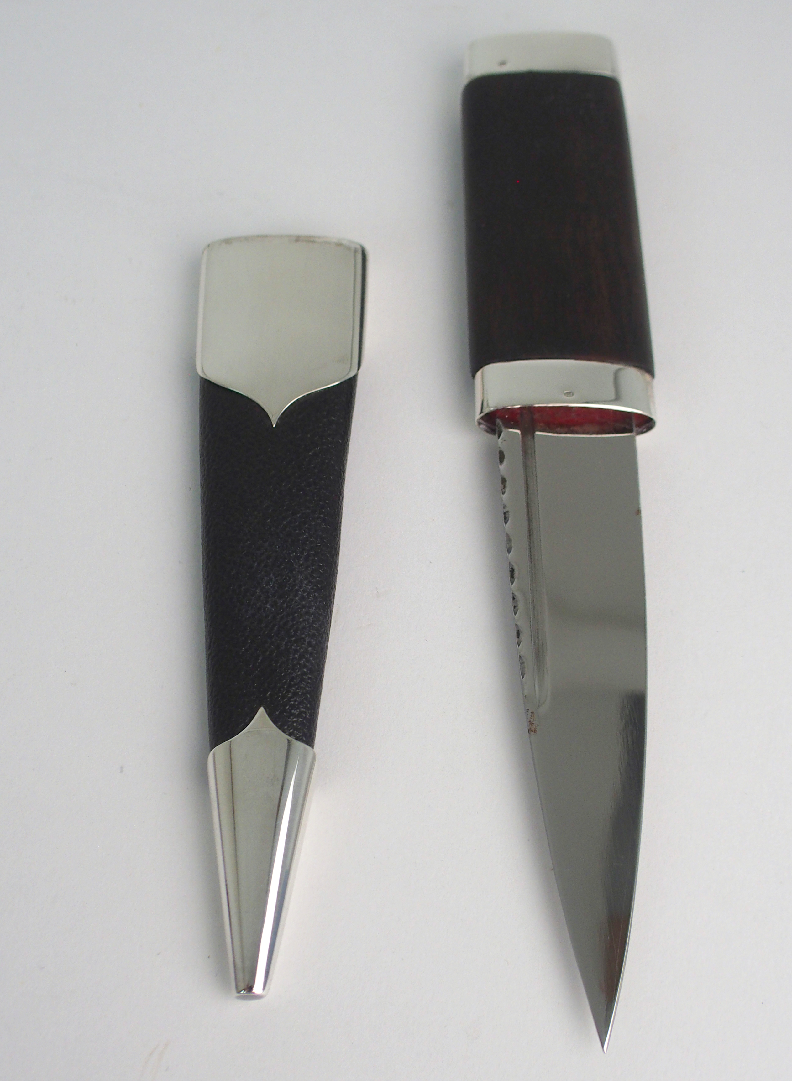 A SILVER-MOUNTED SGIAN DUBH BY HAMILTON & INCHES with black goatskin scabbard and hand carved - Image 2 of 3