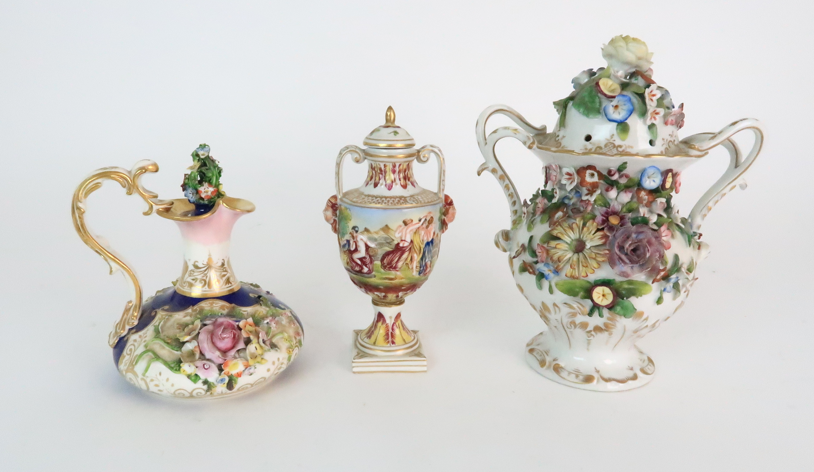 A PAIR OF CONTINENTAL PORCELAIN URNS each decorated with strings of flowers and gilt dot and dash - Image 7 of 16