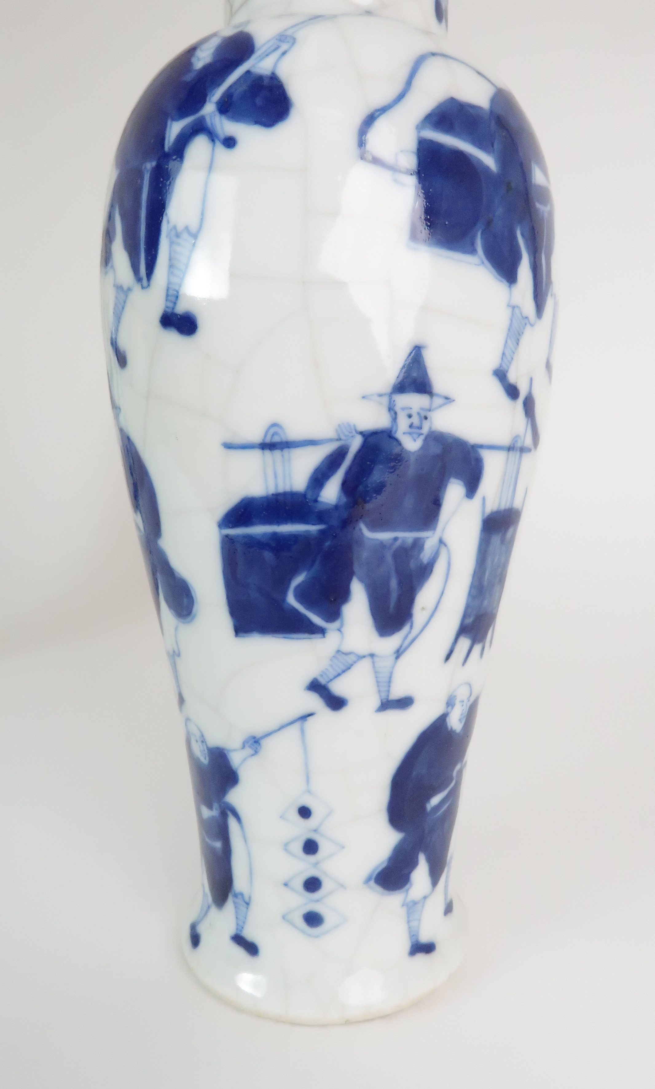 A CHINESE BLUE AND WHITE BALUSTER VASE AND COVER painted with numerous figures within foliate - Image 18 of 19