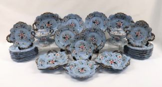 AN EARLY 19TH CENTURY RIDGWAYS PALE BLUE STONEWARE DESSERT SERVICE comprising four small square