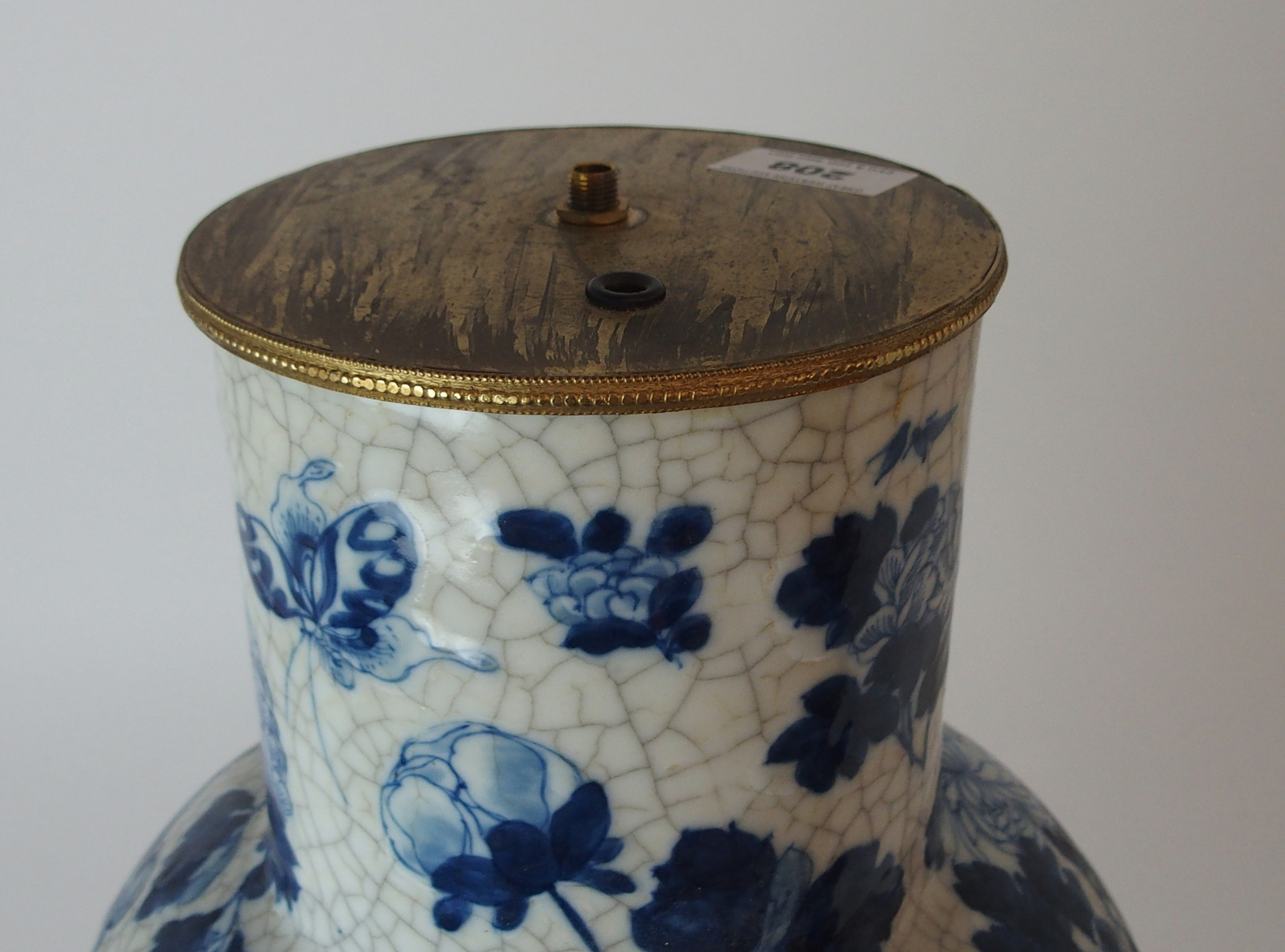 A LARGE CHINESE BLUE AND WHITE MOULDED VASE painted with birds and bats amongst peonies - Image 11 of 11