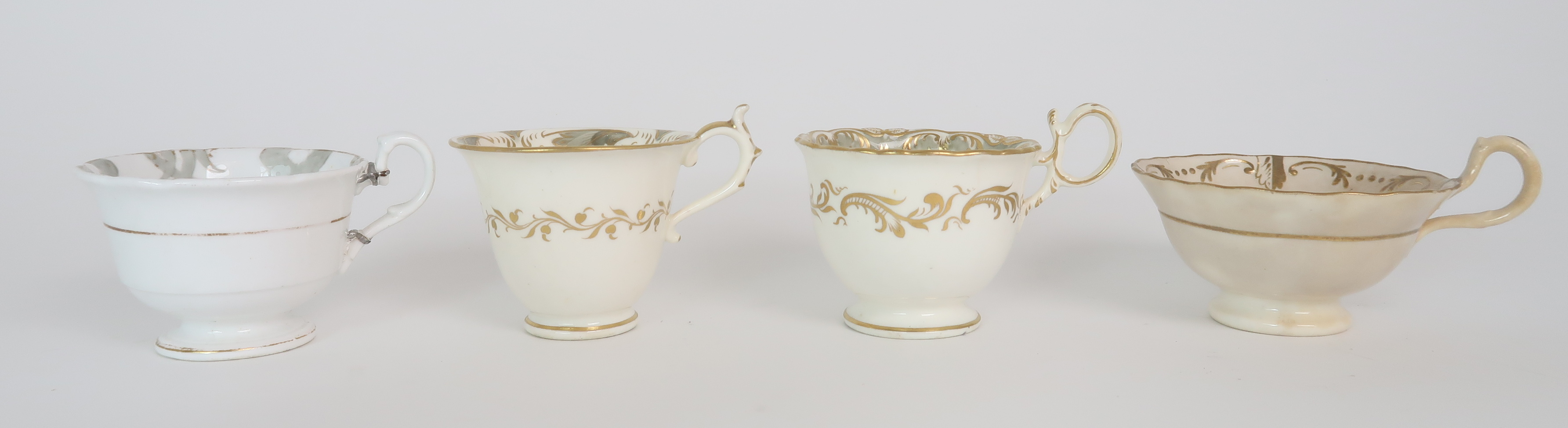 A COLLECTION OF 19TH CENTURY ENGLISH TEA AND COFFEE WARES the white ground with either grey and gilt - Image 19 of 22